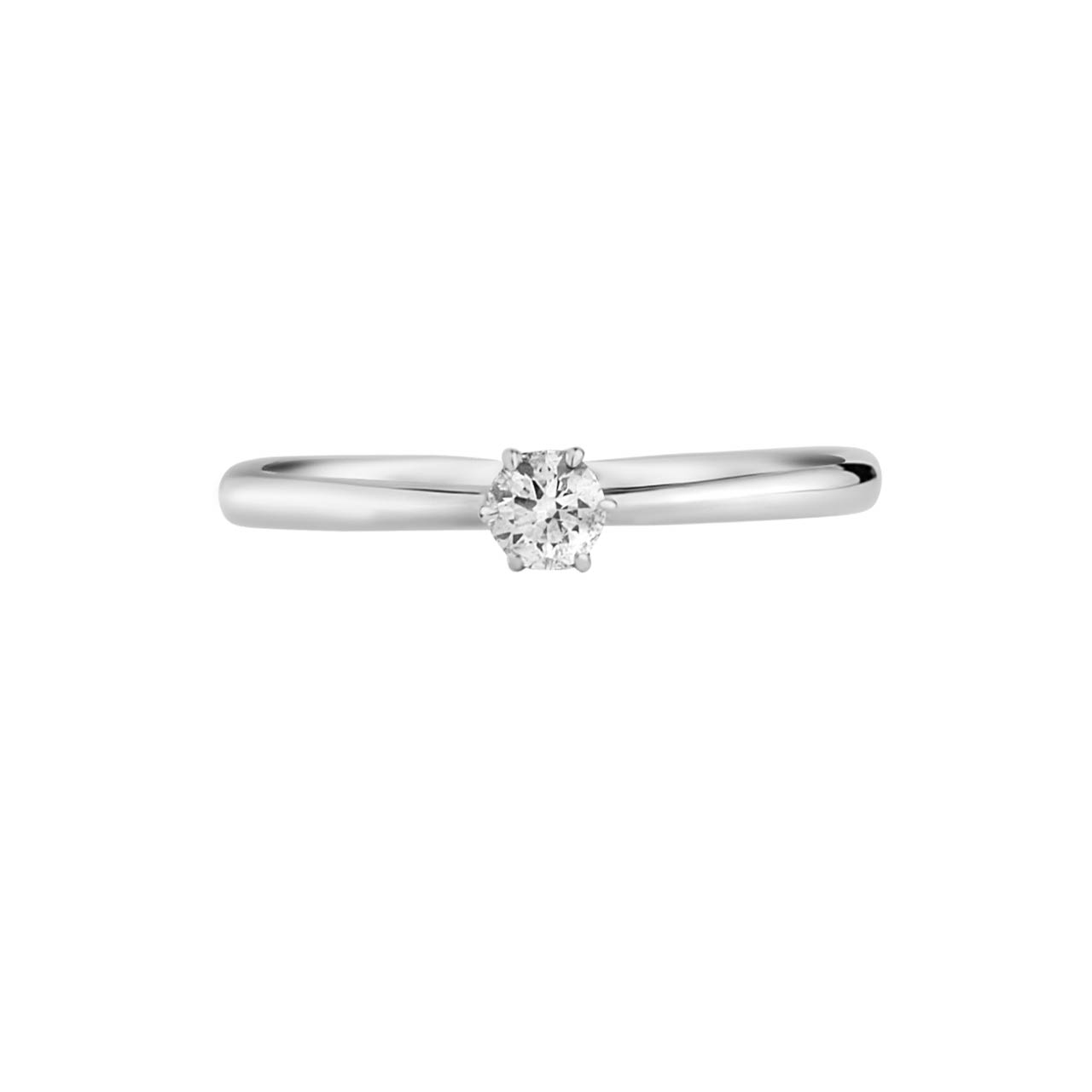 Solitaire Diamond 14kt White Gold Engagement Ring. View 3