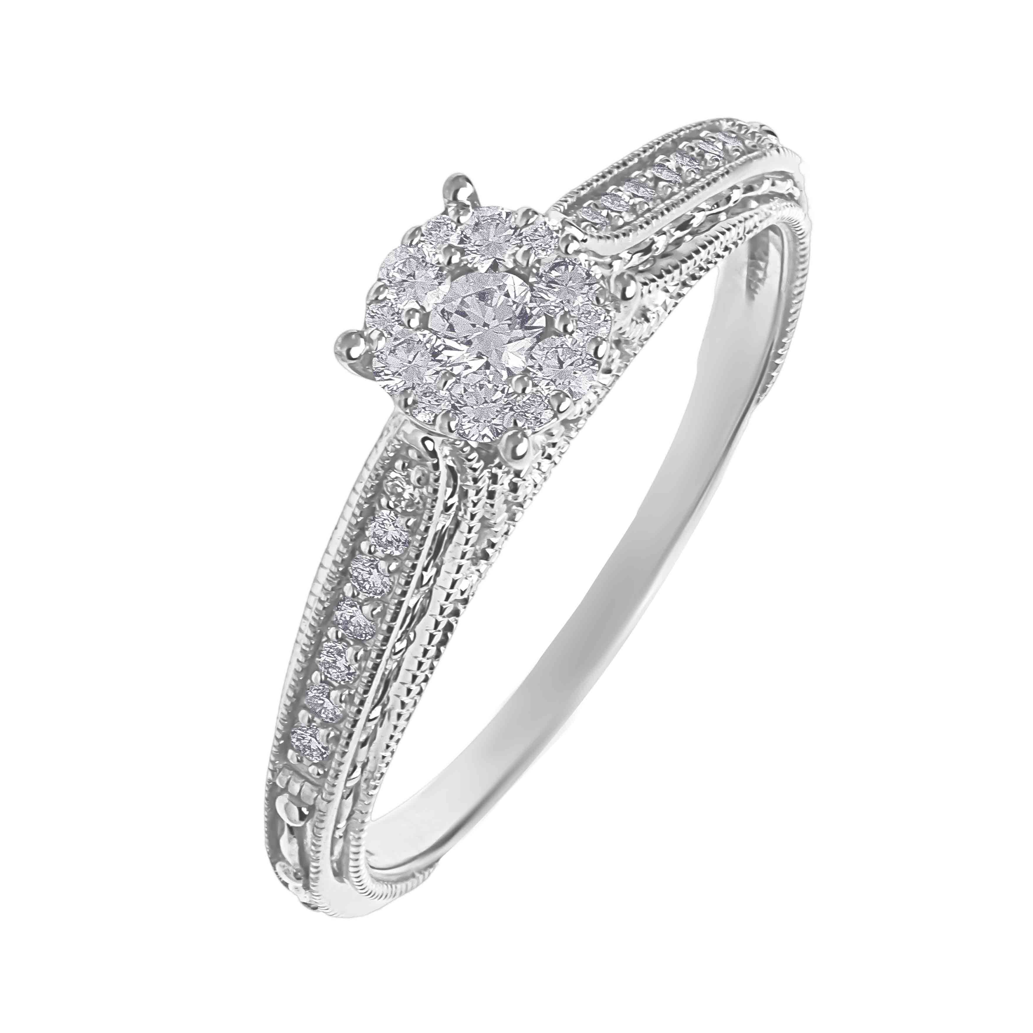 Diamond Renaissance Milgrain Engagement Ring