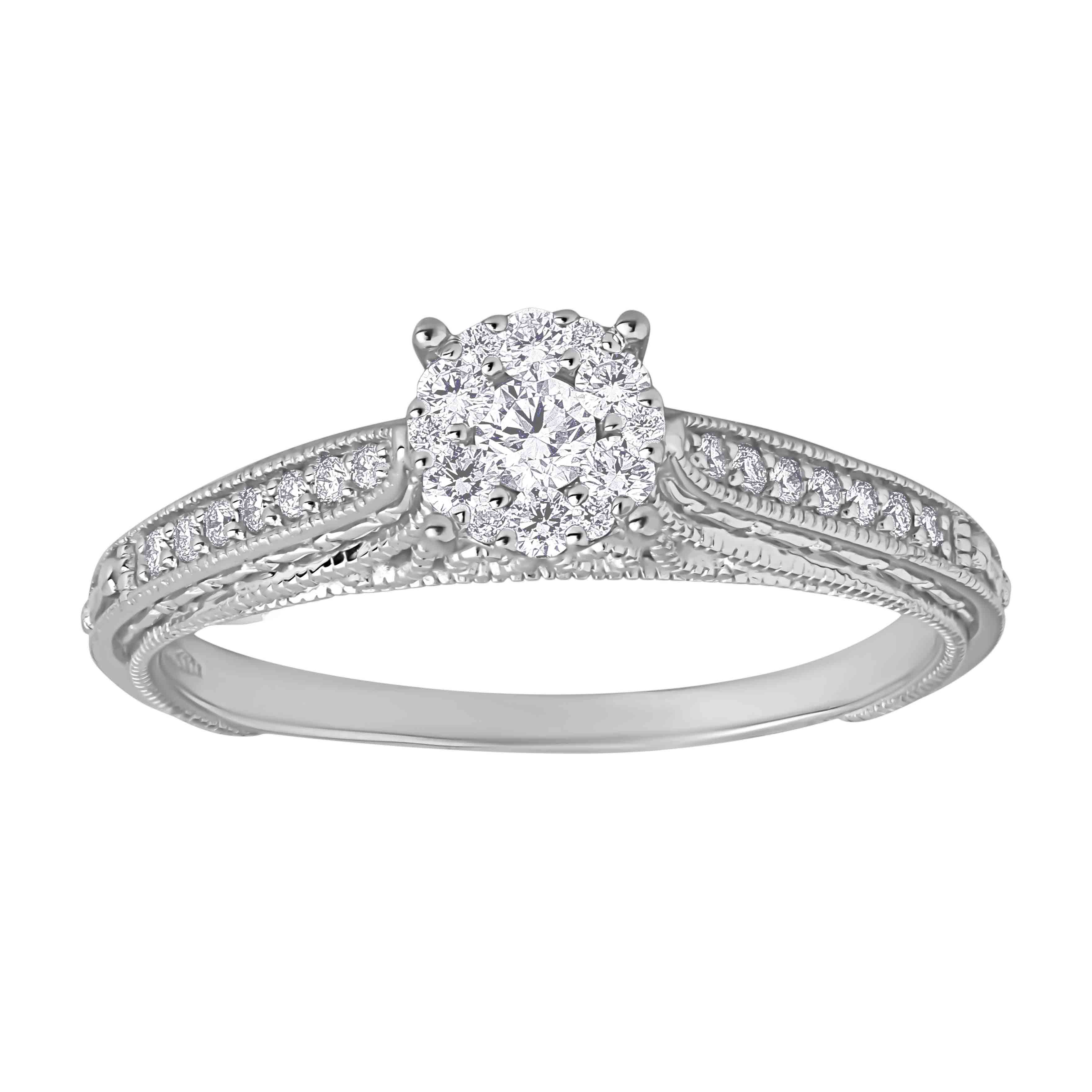 Diamond Renaissance Milgrain Engagement Ring. View 2