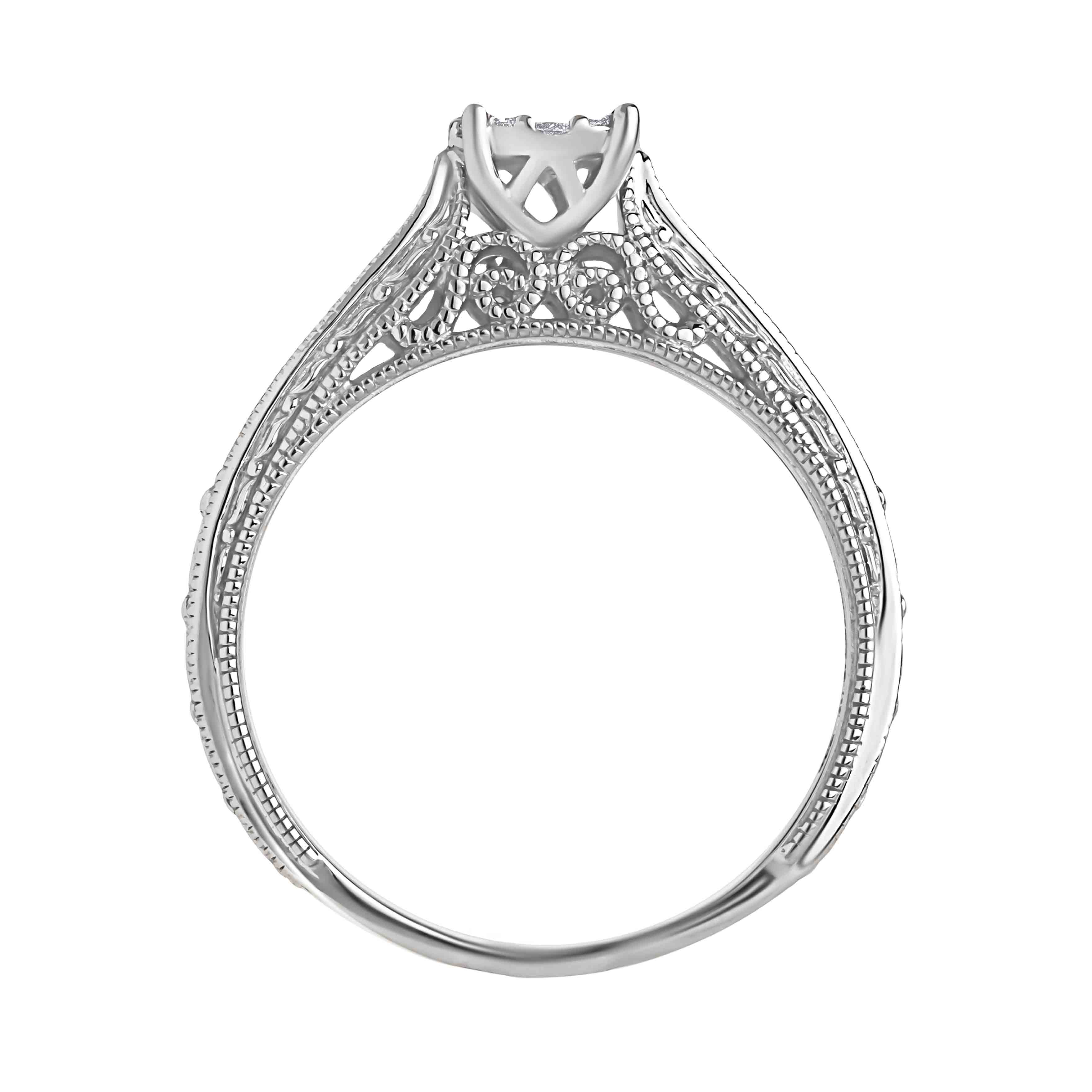 Diamond Renaissance Milgrain Engagement Ring. View 3