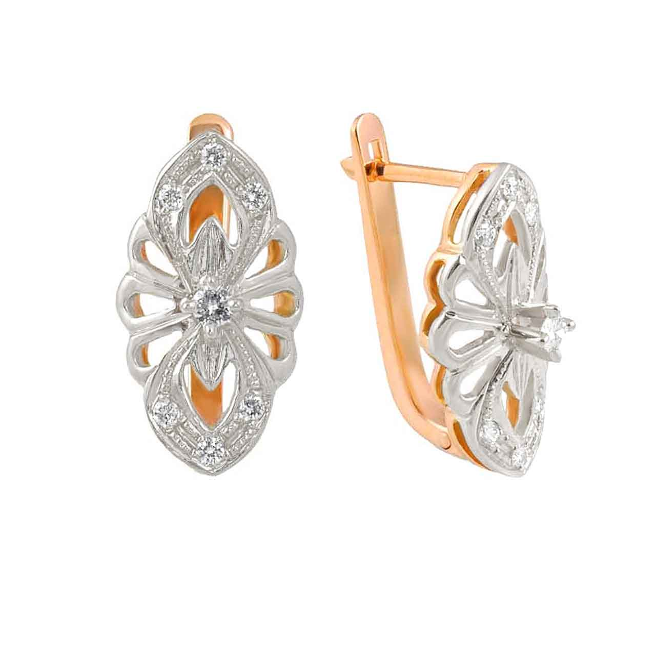 Antique-style Diamond Leverback Earrings