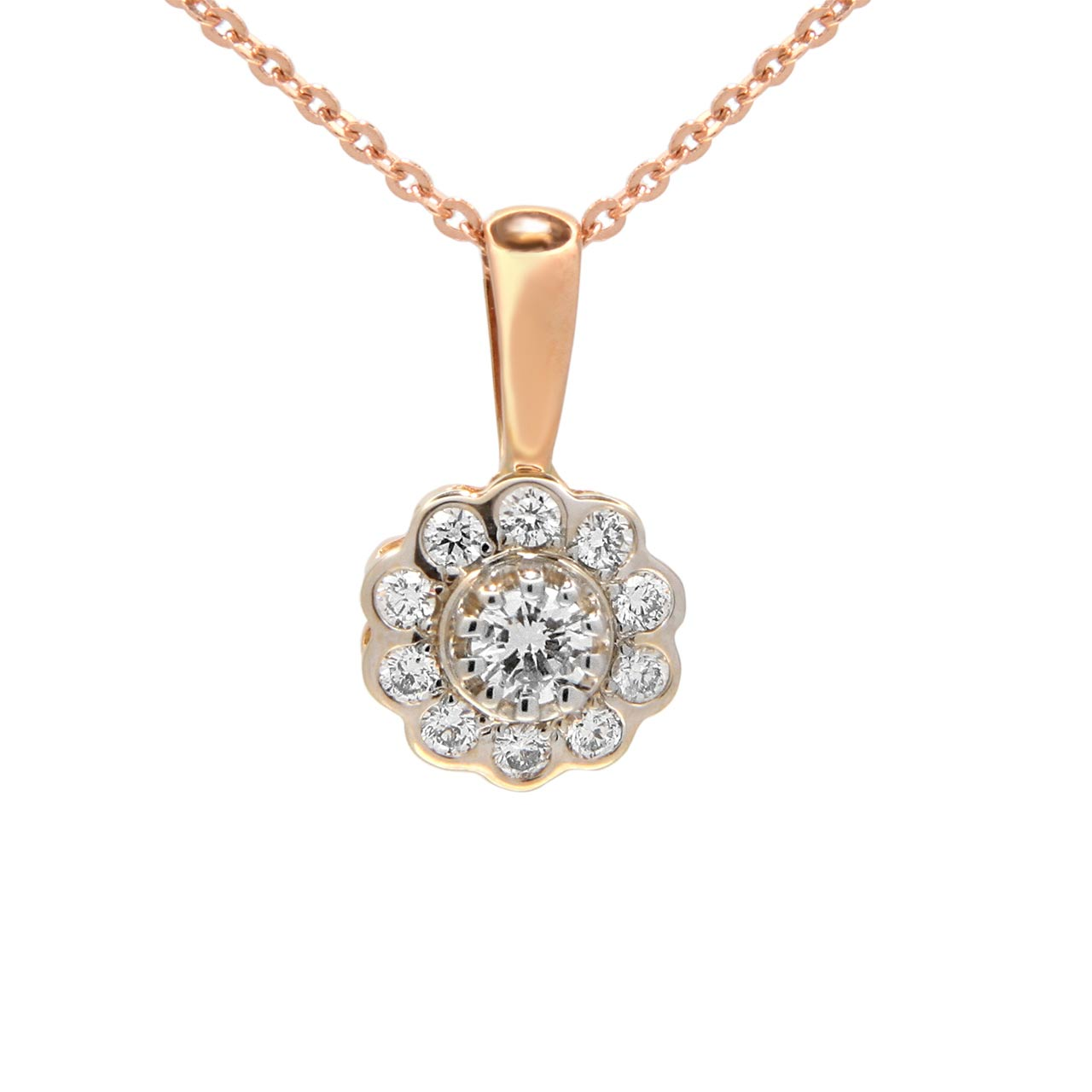 Diamond two-tone gold pendant 1