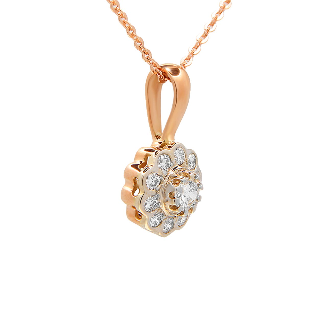 Diamond two-tone gold pendant 2