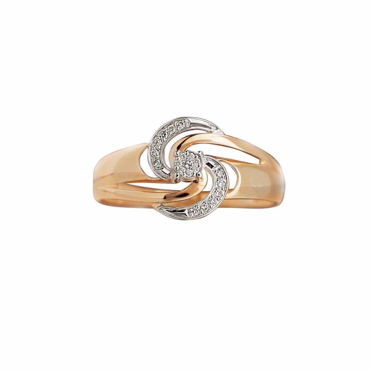 Galactic Diamond 585 Rose and White Gold Ring. View 2