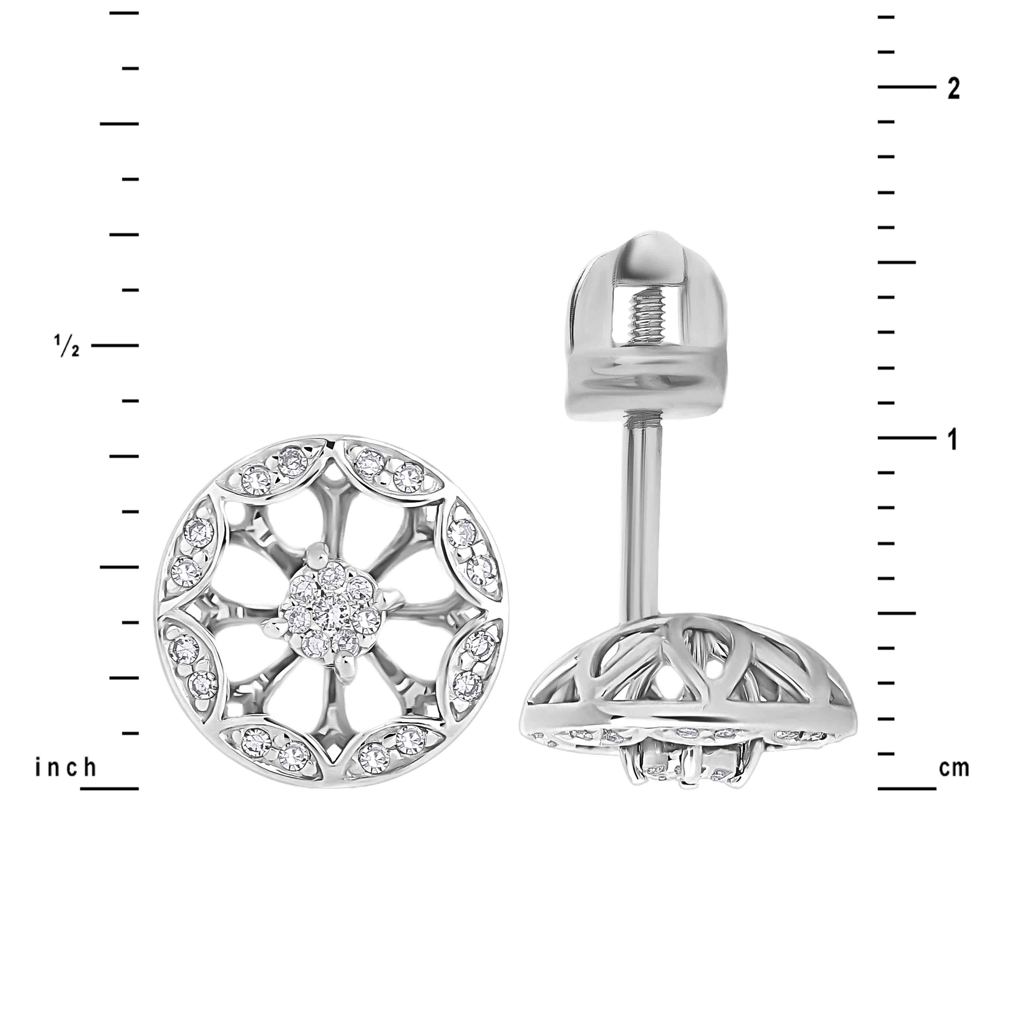 Size of Diamond Water Hyacinth Flower 14kt White Gold Studs