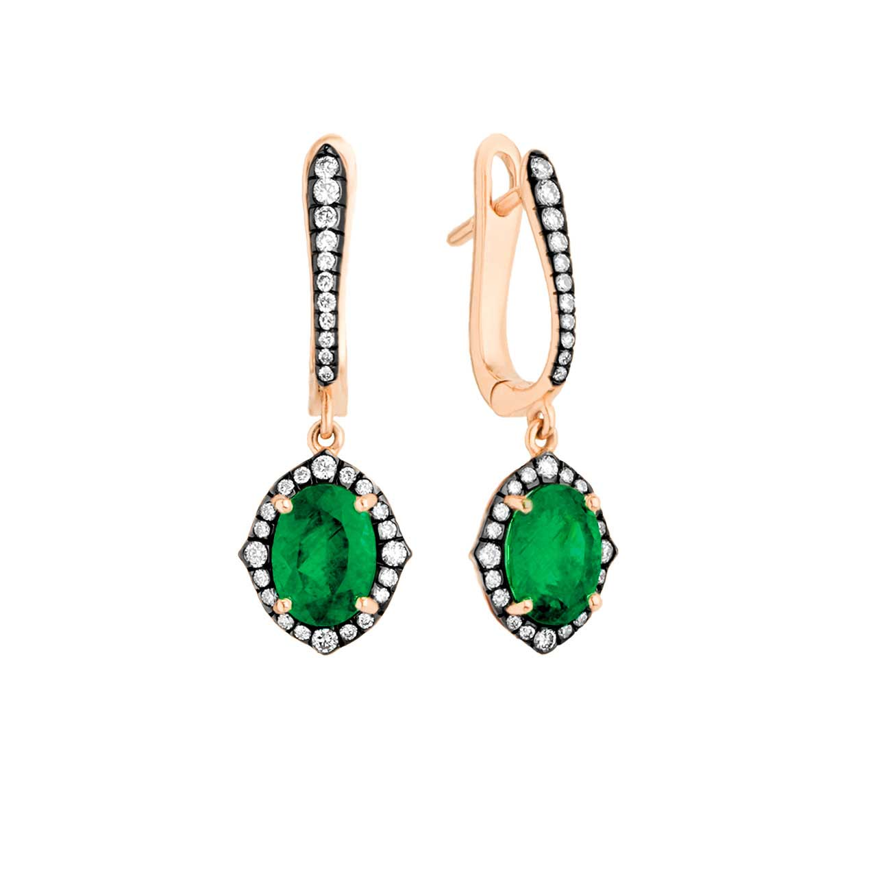 Emerald 18K gold earrings 1