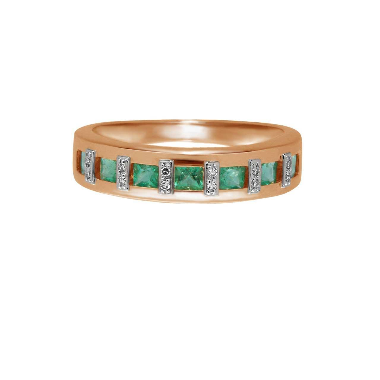 Channel Set Emerald with Diamonds Ring 2