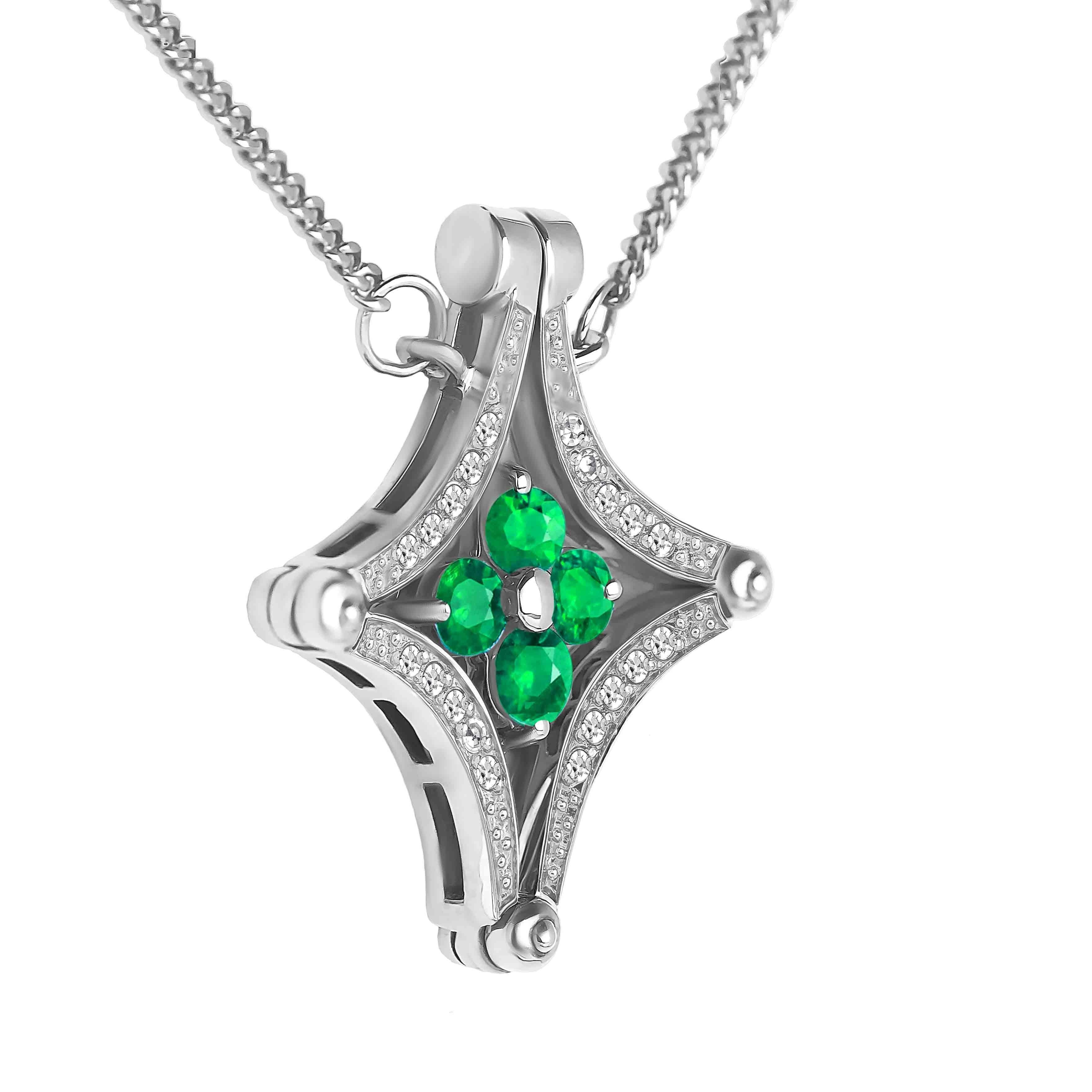 Emerald Diamond Necklace view 2
