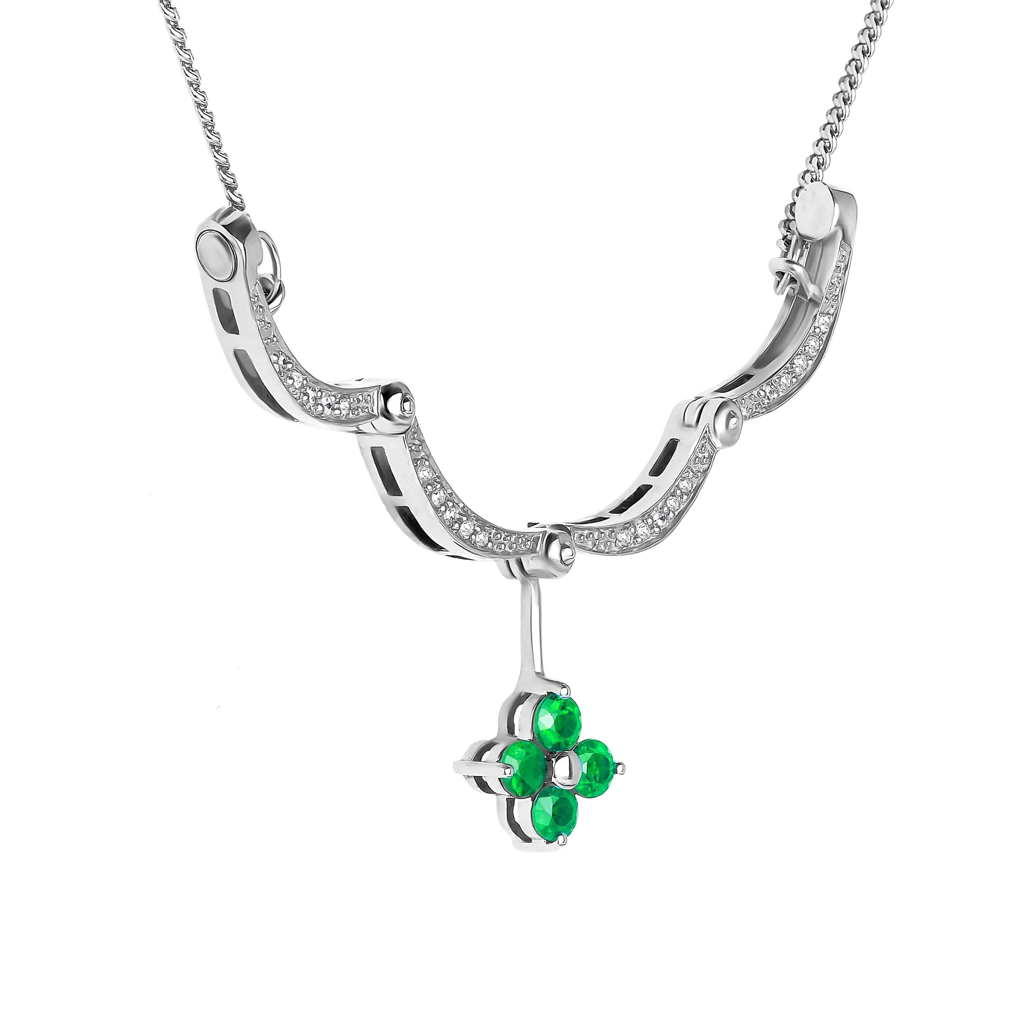Emerald Diamond Necklace view 4