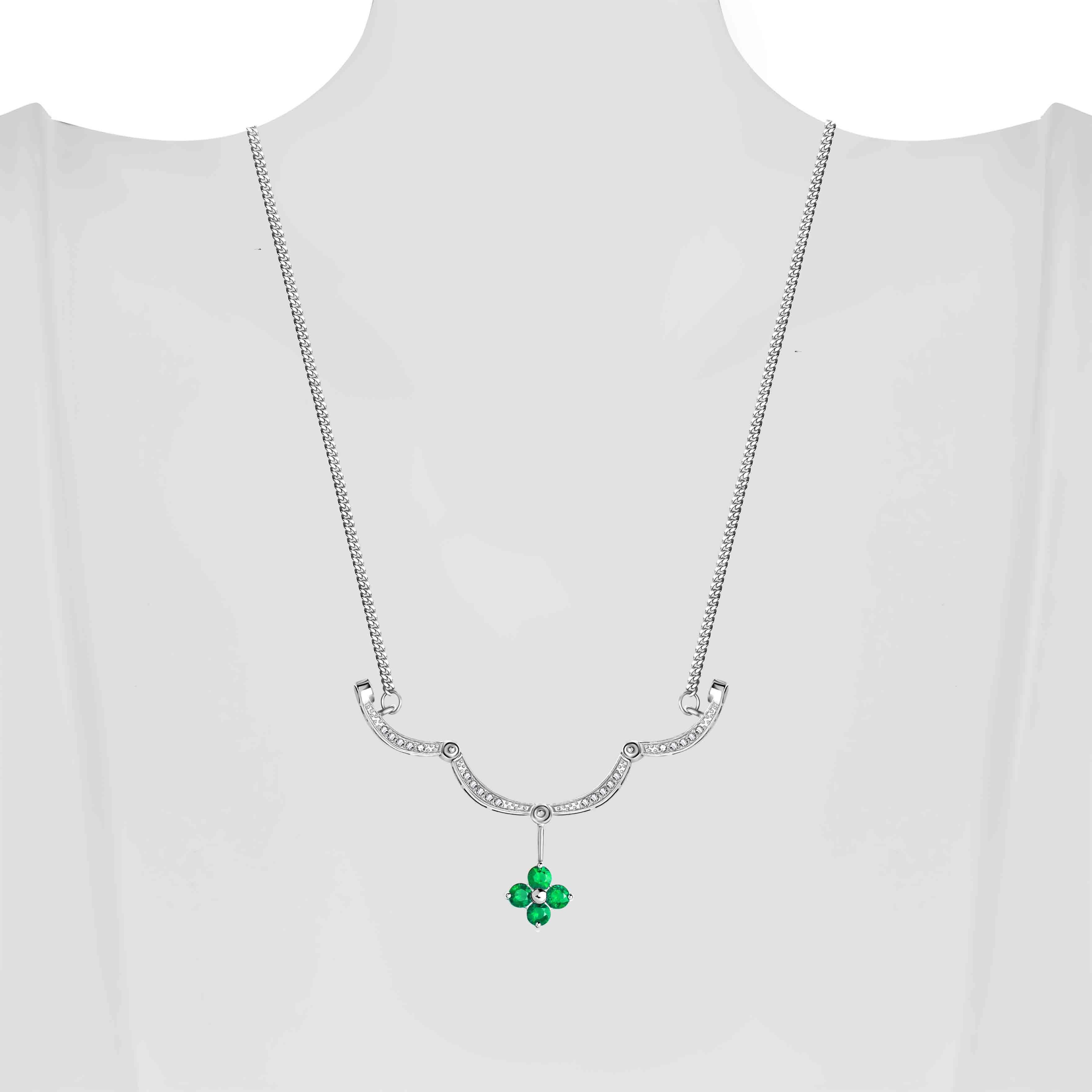 Emerald Diamond Necklace view 5