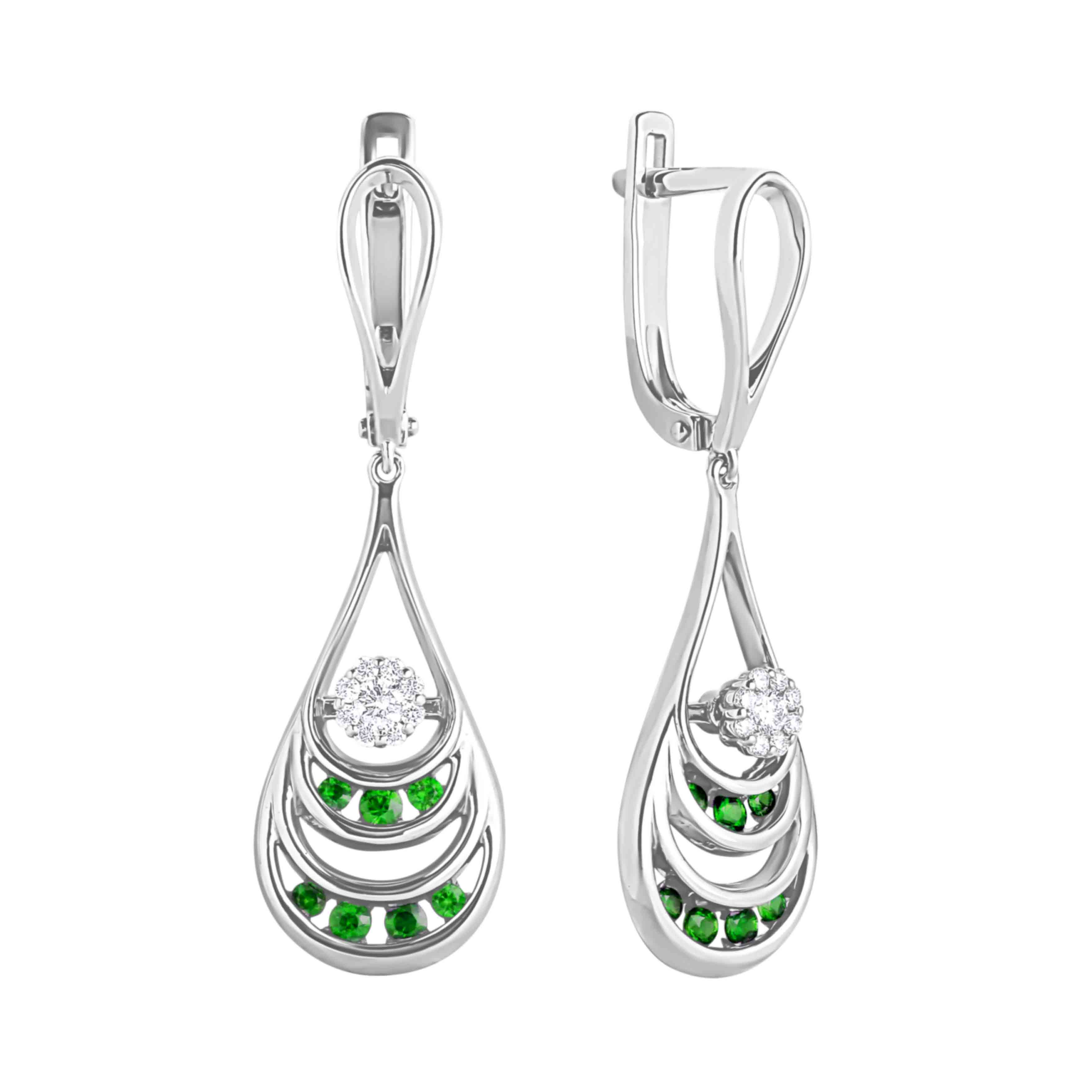 Emerald and Diamond Dangle Earrings