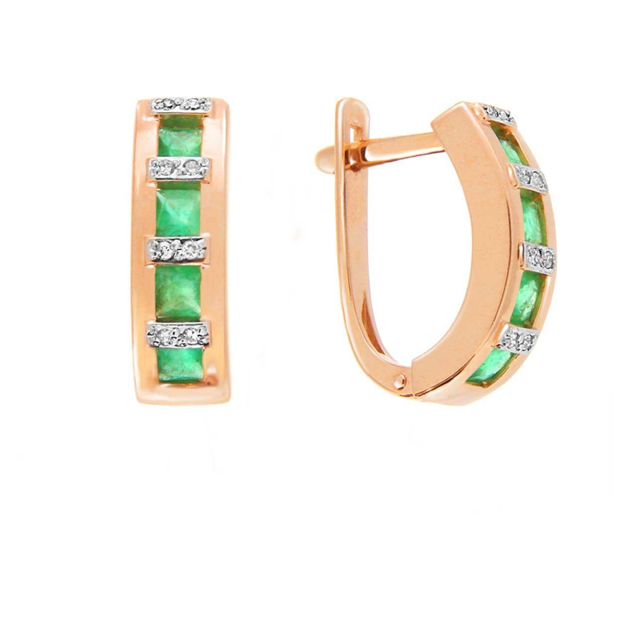 Channel Set Emerald with Diamonds Earrings