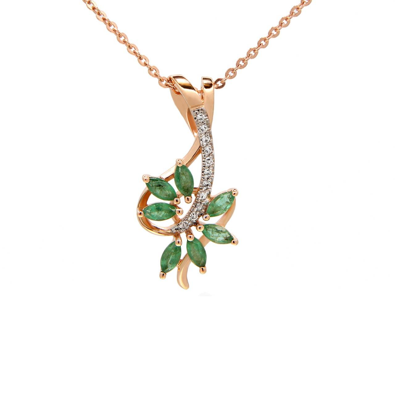 "Emerald and Diamond ""Tree Branch"" Pendant"