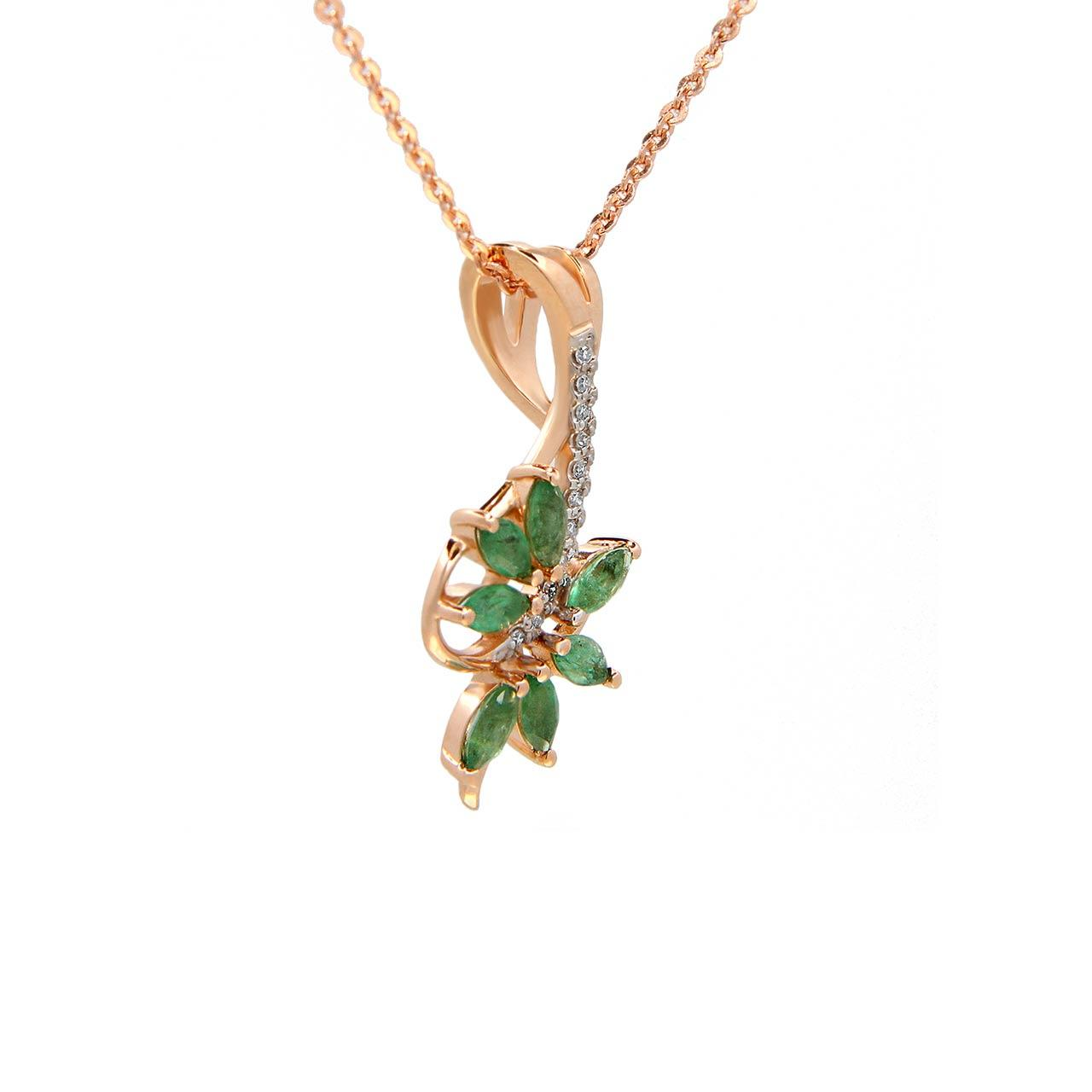 "Emerald and Diamond ""Tree Branch"" 14kt Rose Gold Pendant. View 2"