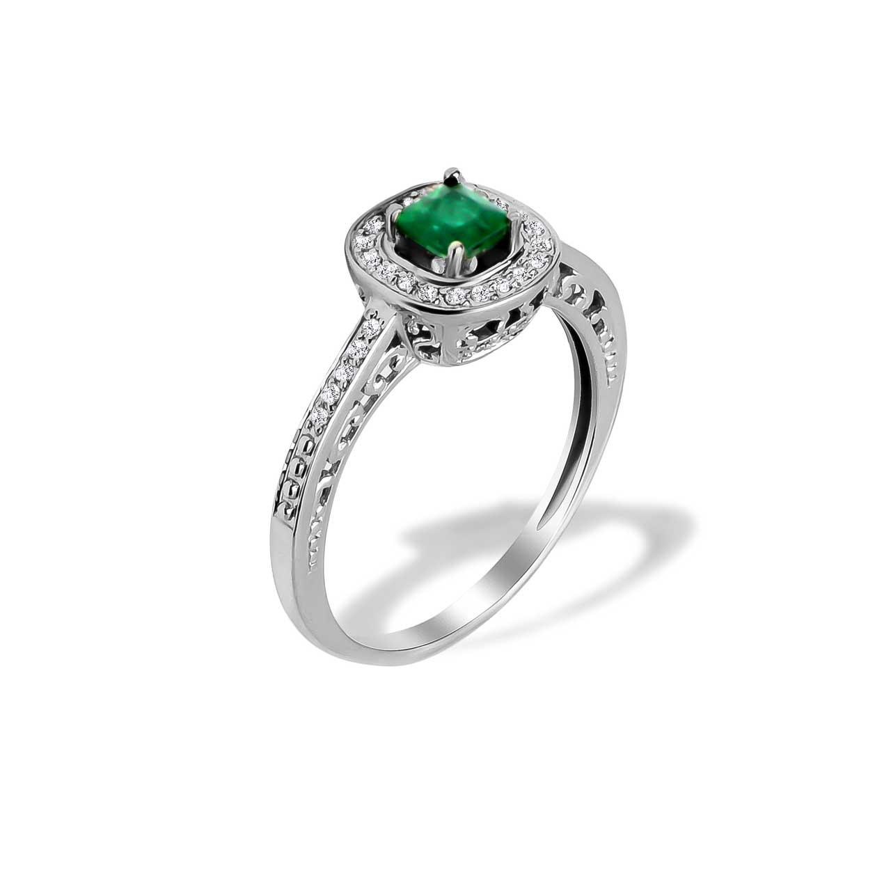 Emerald and Diamond Scrollwork Ring
