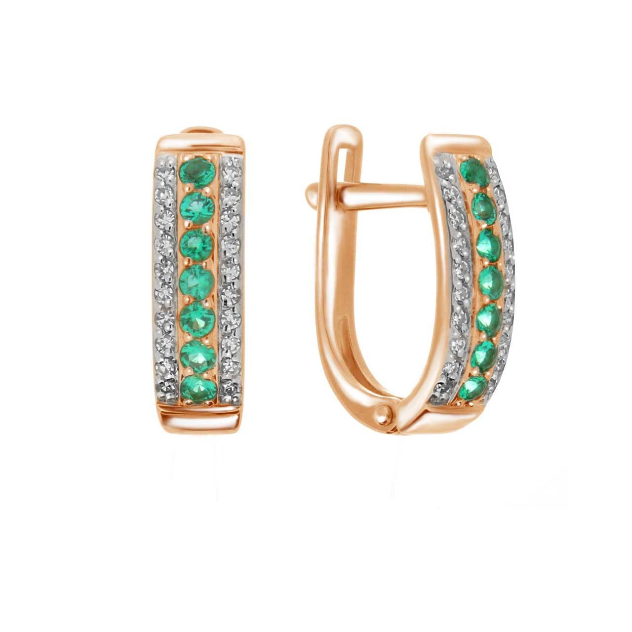Emerald rose gold earrings 1