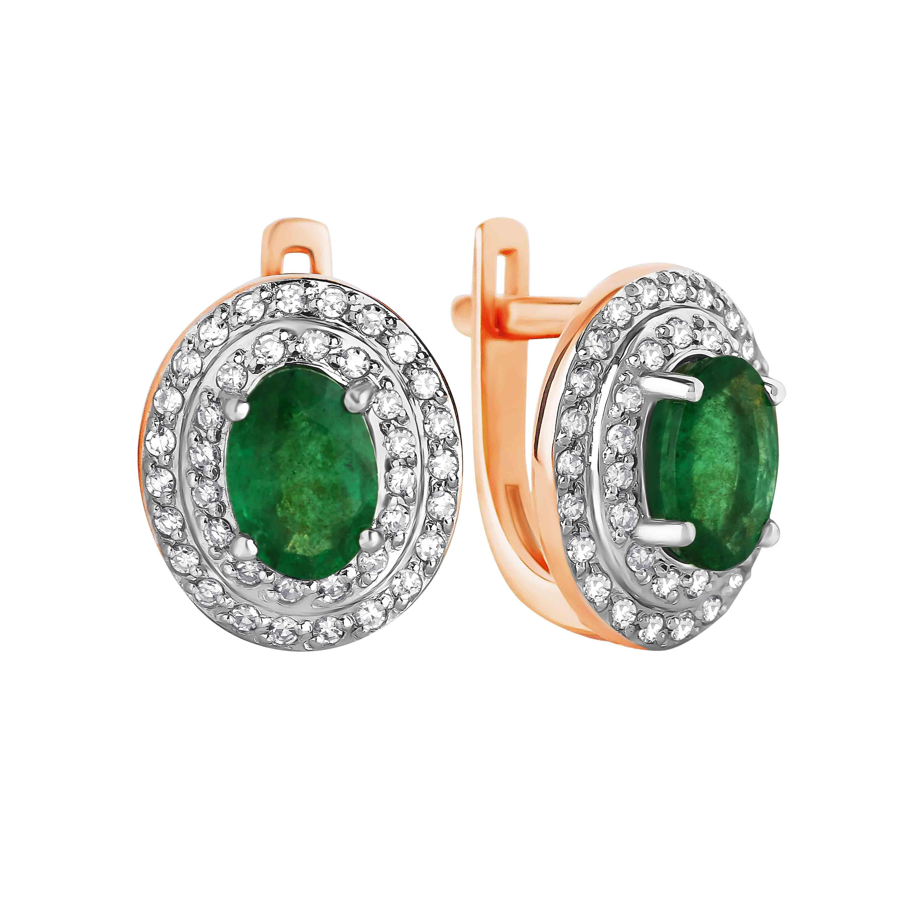 Emerald and Diamond Elliptical Earrings