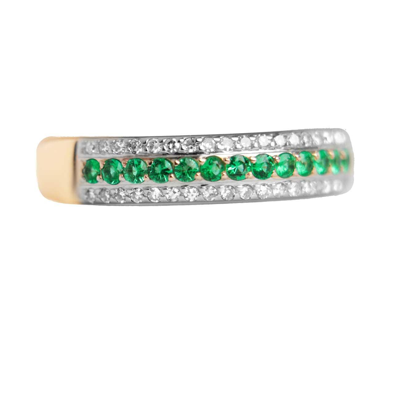 Emerald and Diamond Striped Ring 3