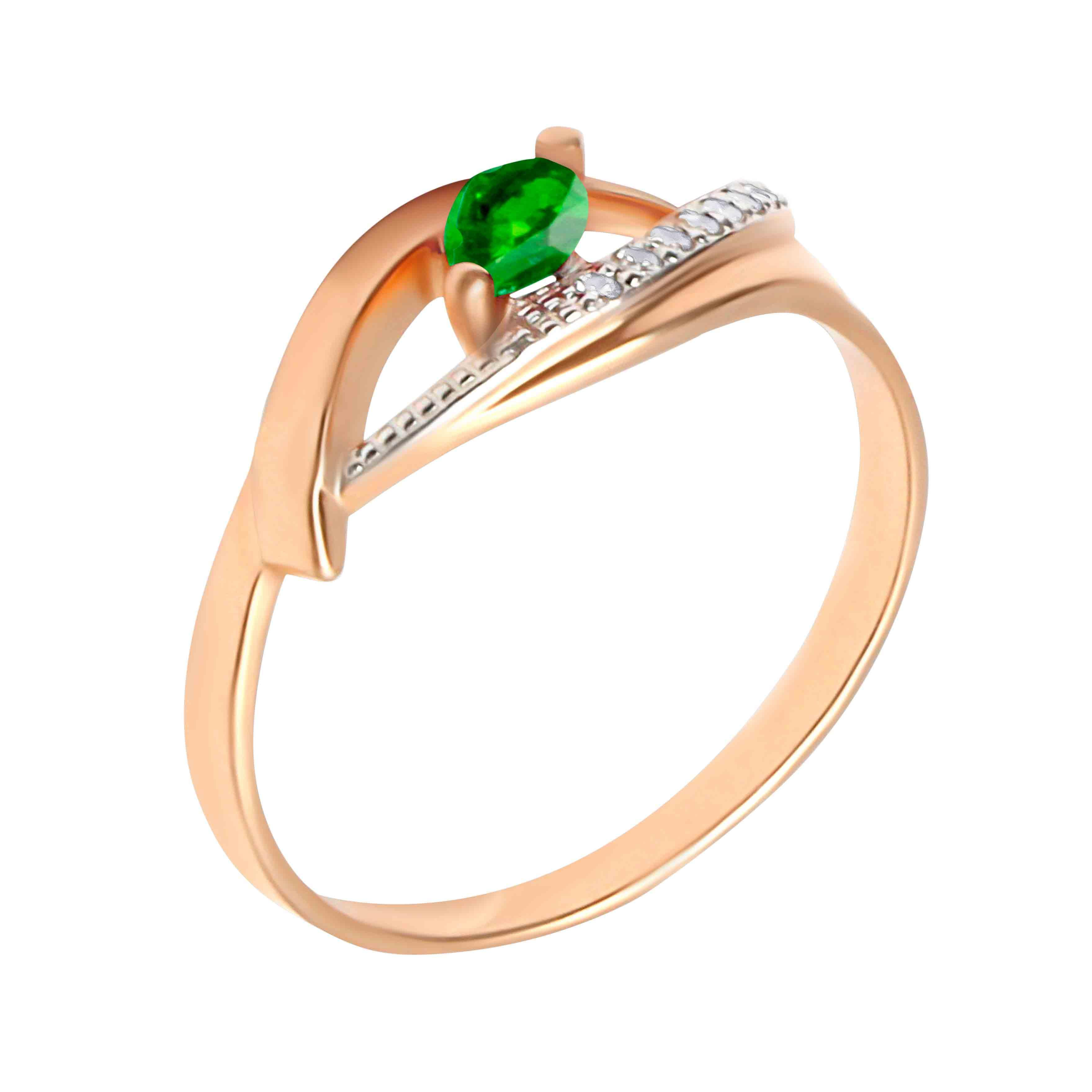 Marquise Emerald and Diamond Open Ring