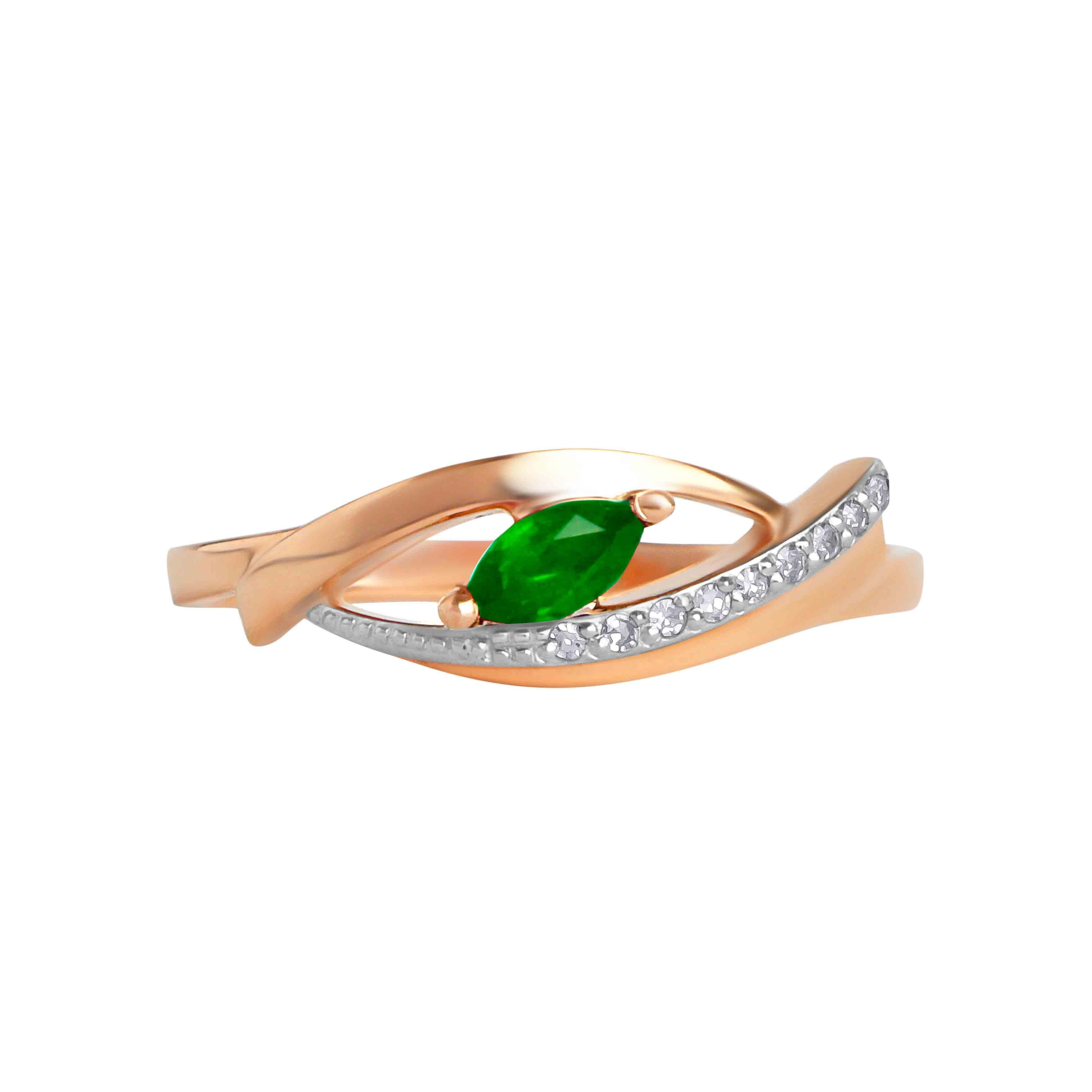 Marquise-shaped Emerald and Diamond Ring. View 2