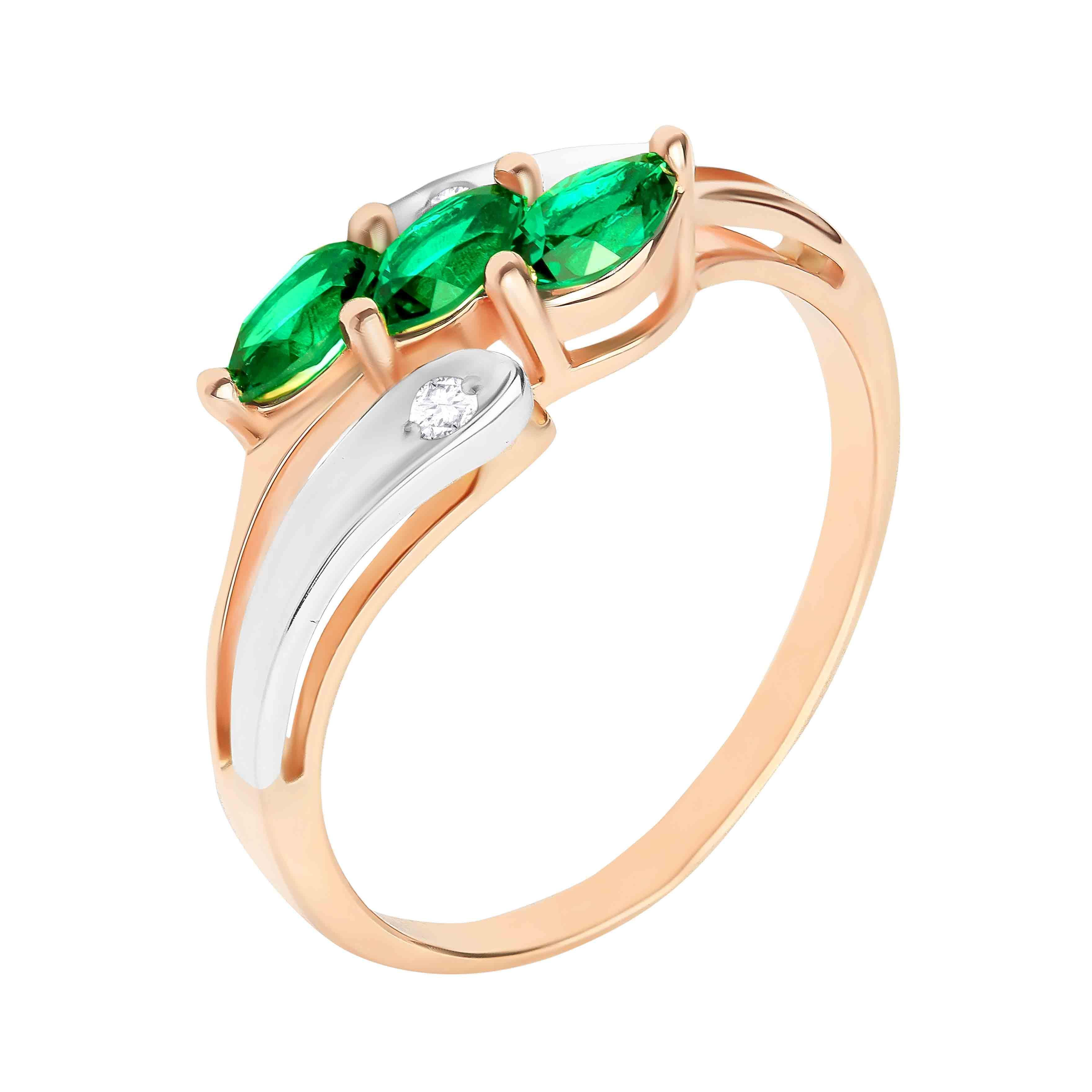 Faux Emerald and Diamond Ring