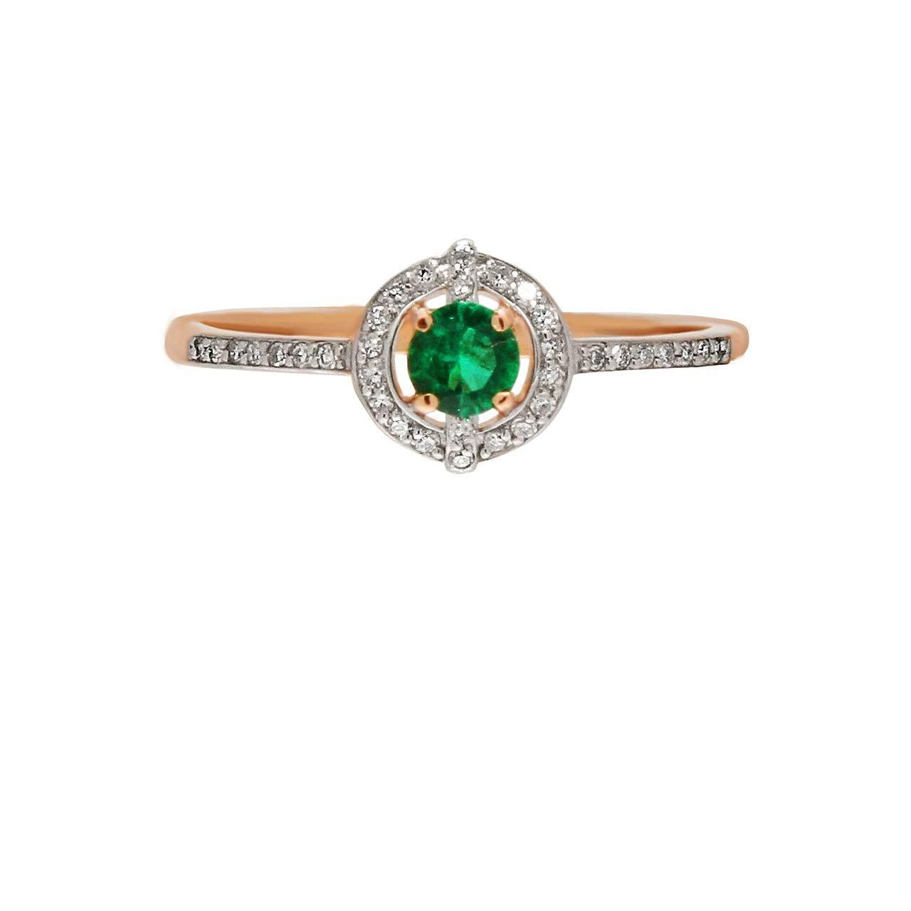 Emerald and Diamond Halo Rose Gold Ring. View 2