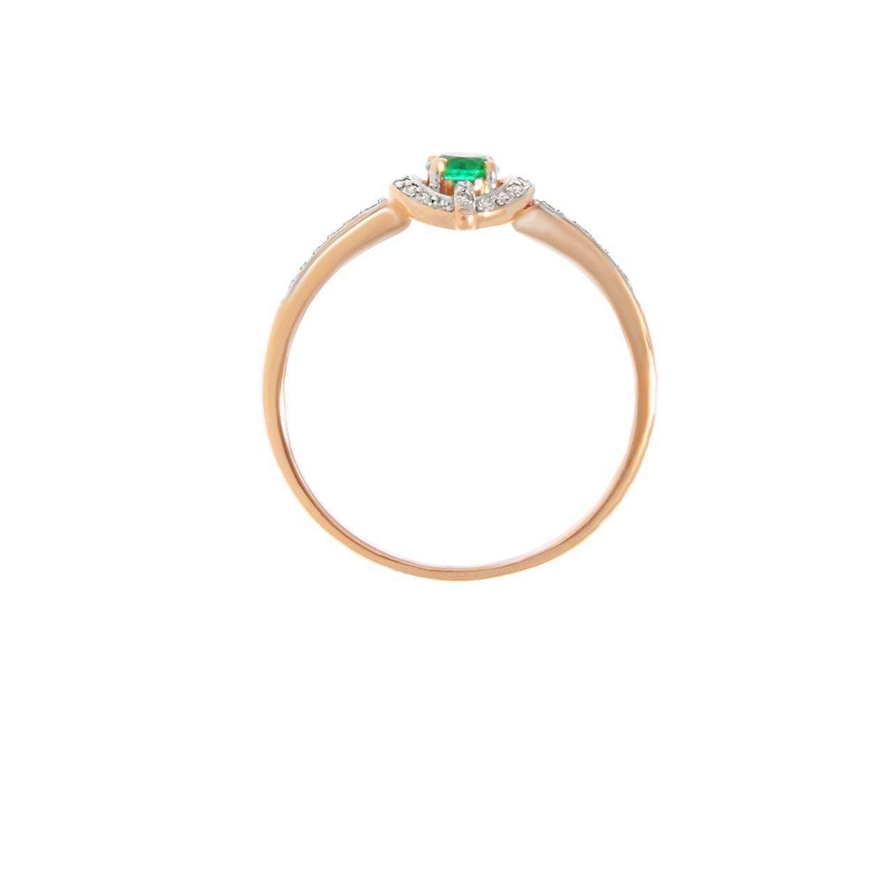 Emerald and Diamond Halo Rose Gold Ring. View 3