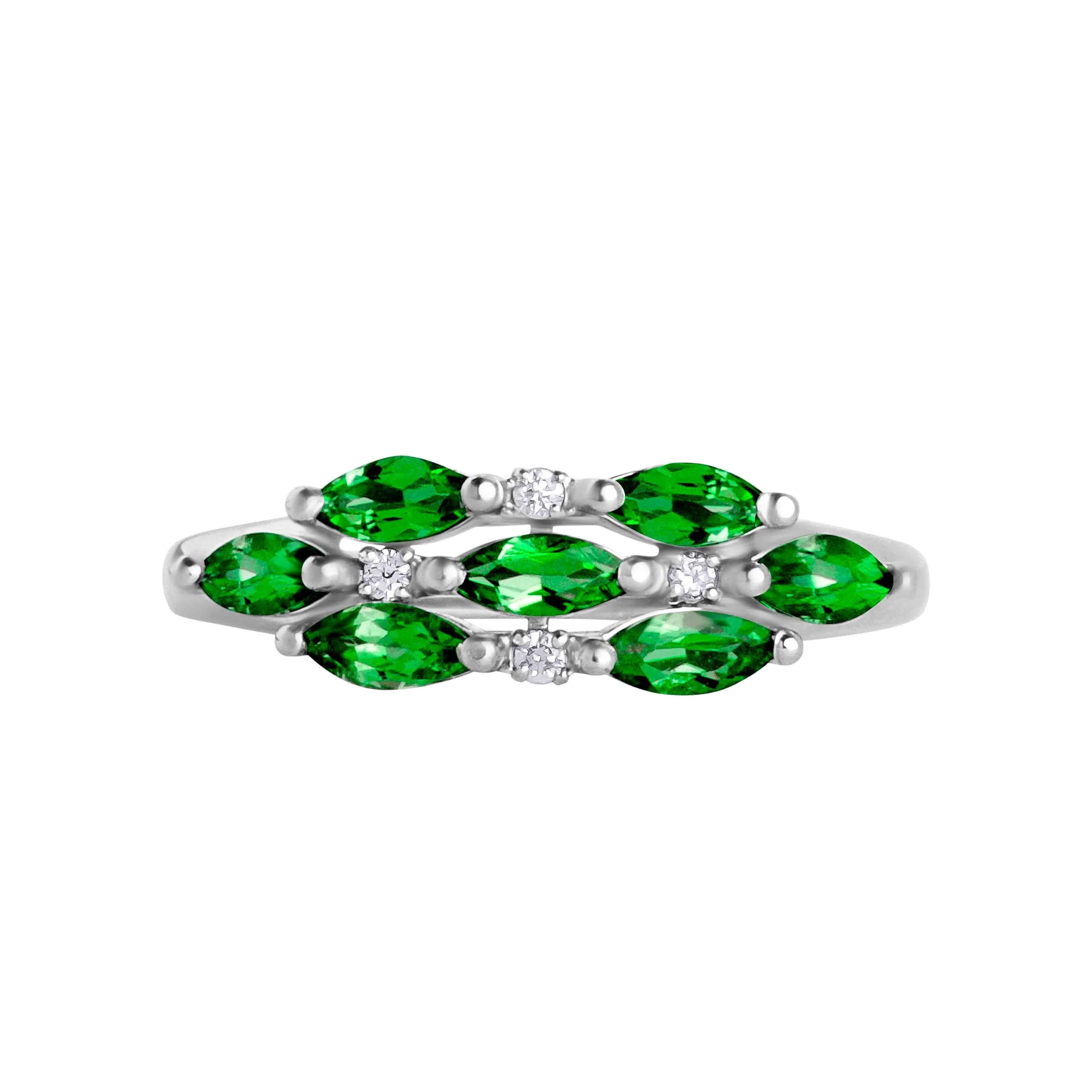 7 marquise emeralds  Russian ring. View 2.