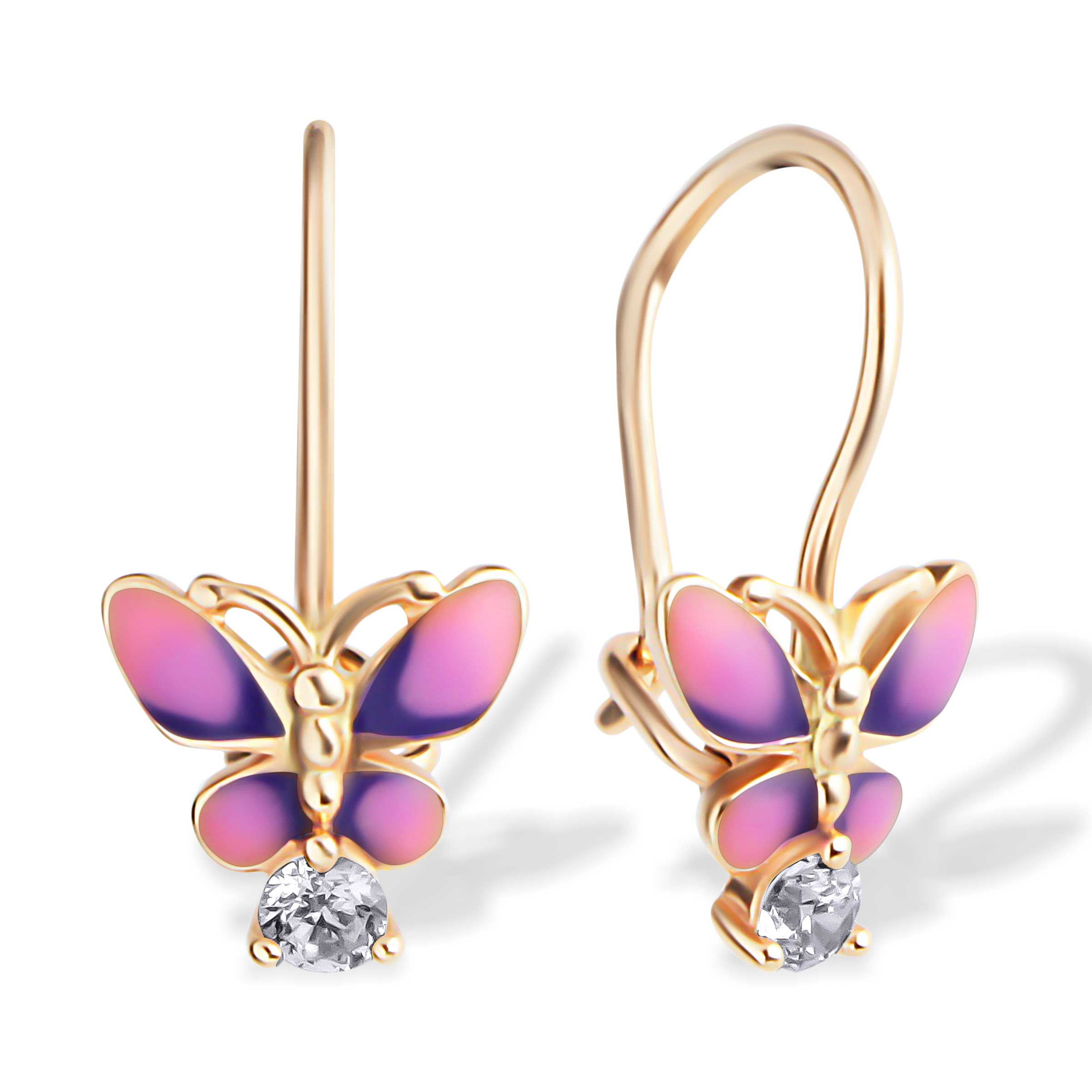 CZ and Enamel Butterfly Children's Earrings