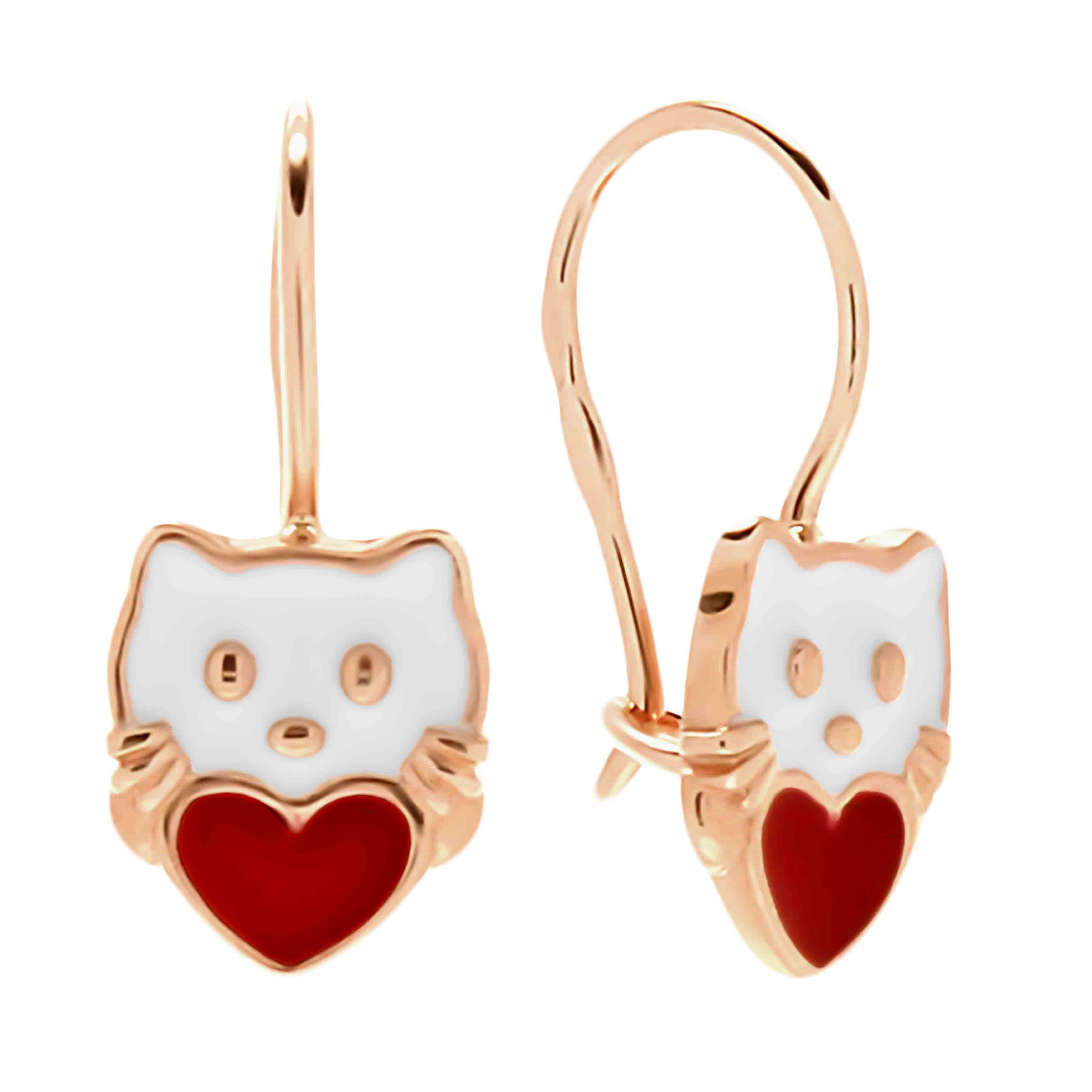 Enamel Kitty Earrings for Kids