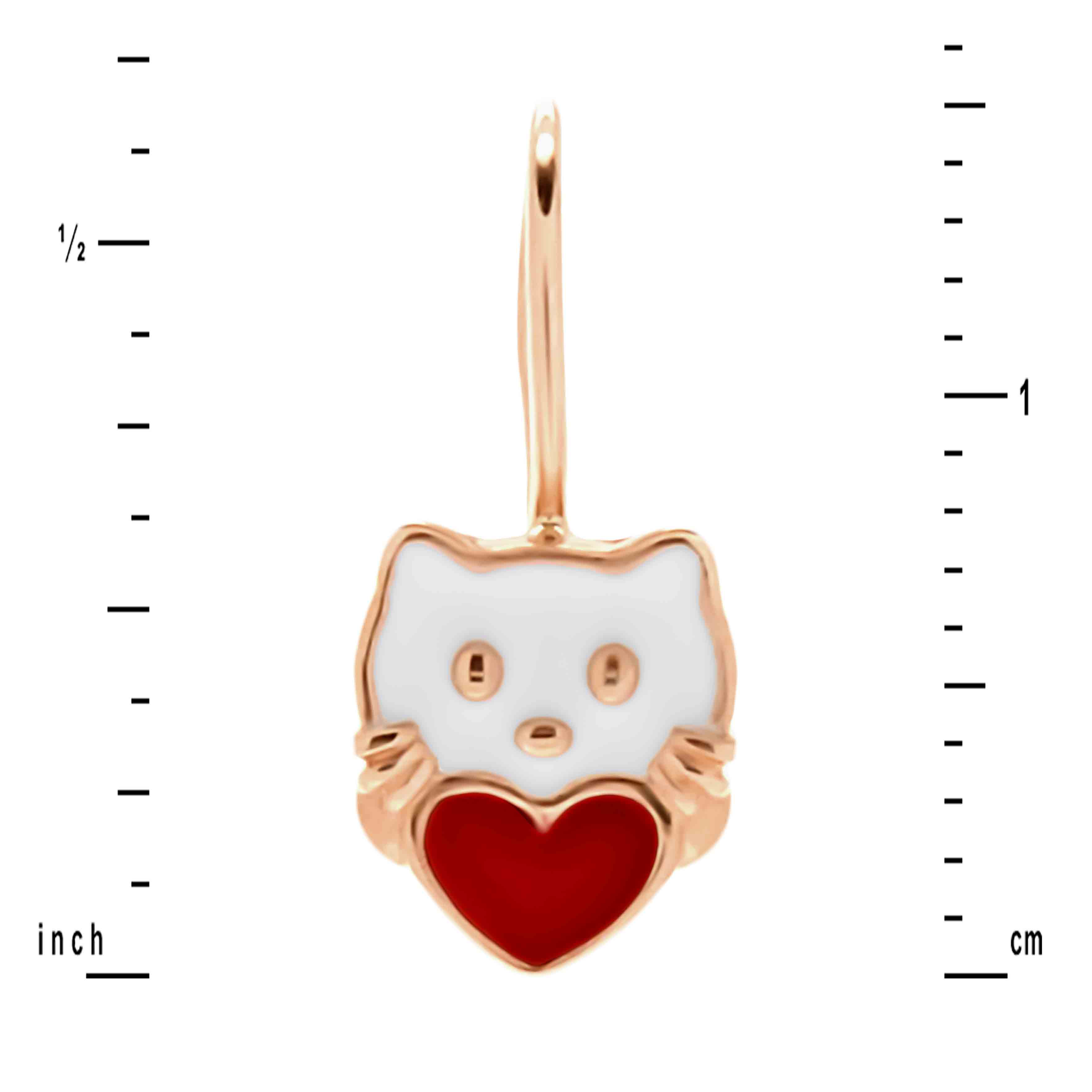 Height of Enamel Kitty Earrings for Kids