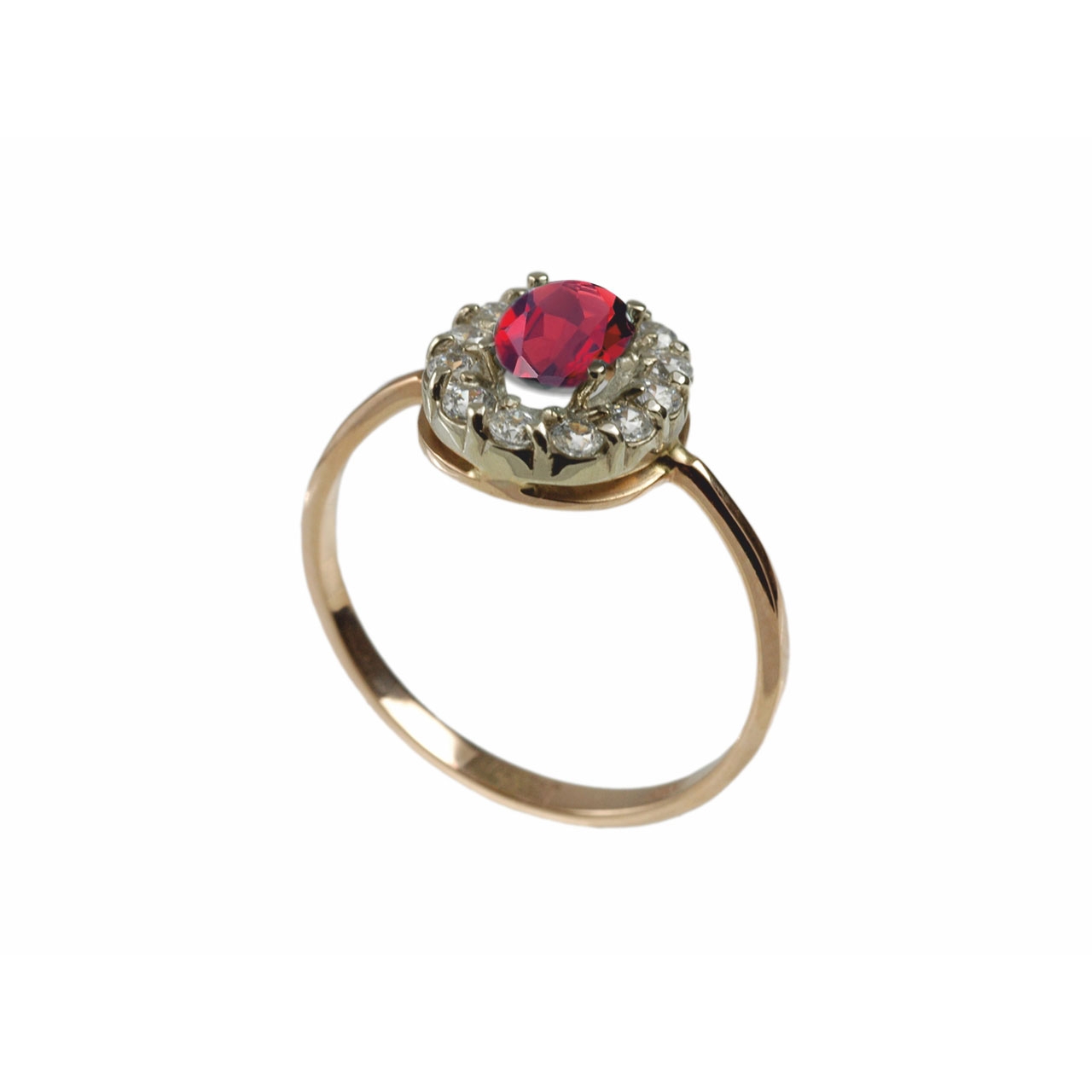 Rose gold ring with created ruby and cz 3
