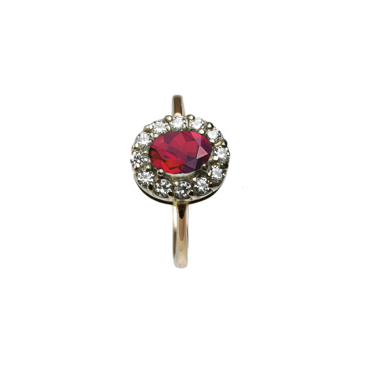 Rose gold ring with created ruby and cz 2