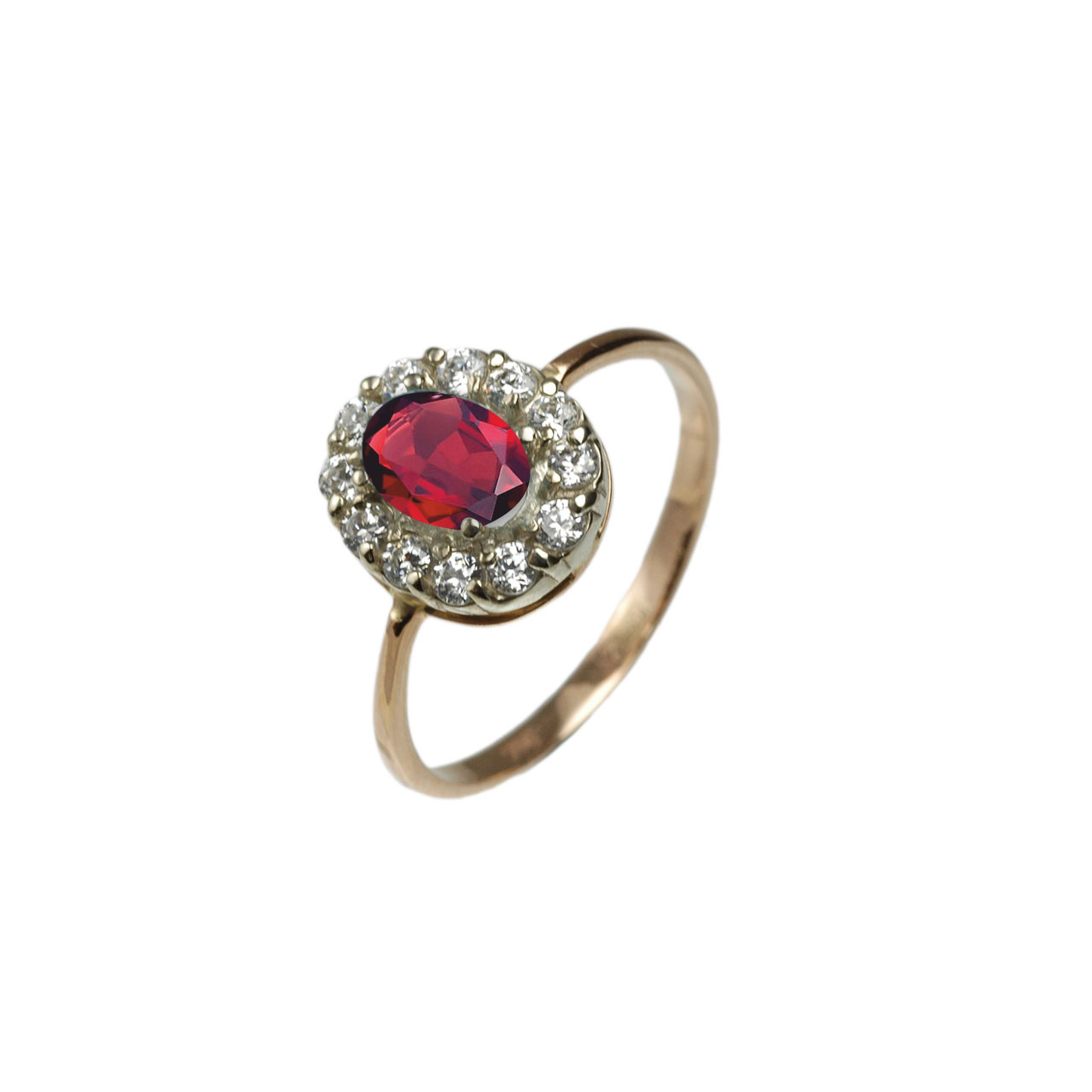 Rose gold ring with created ruby and cz 1