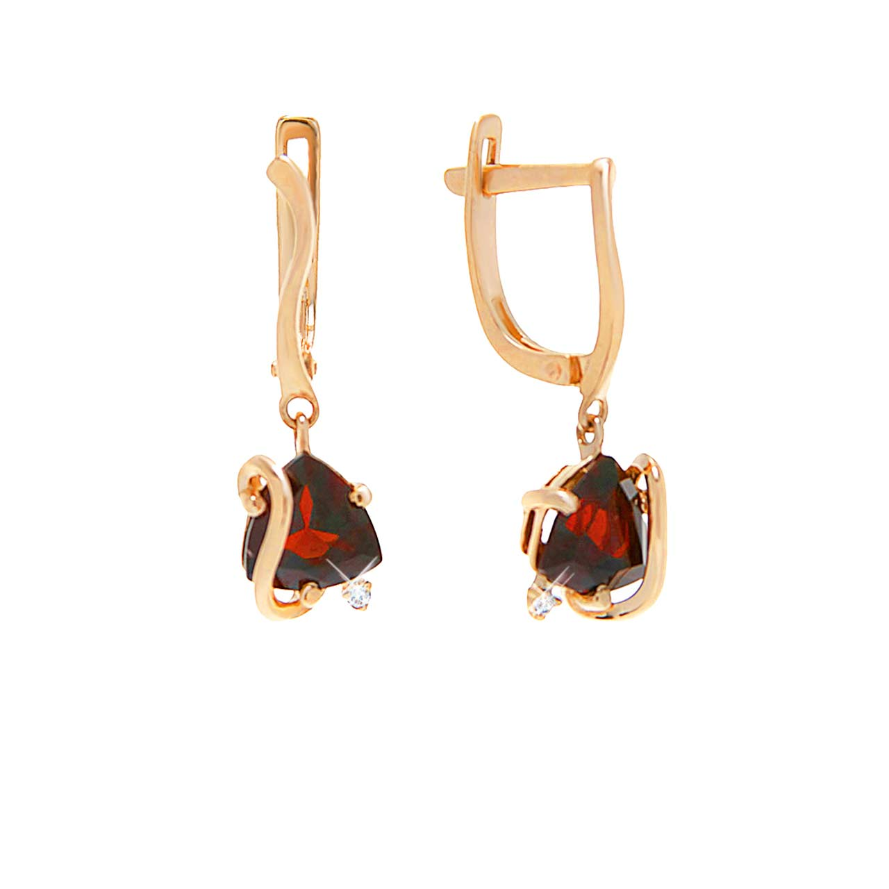 Garnet and CZ Dangle Earrings