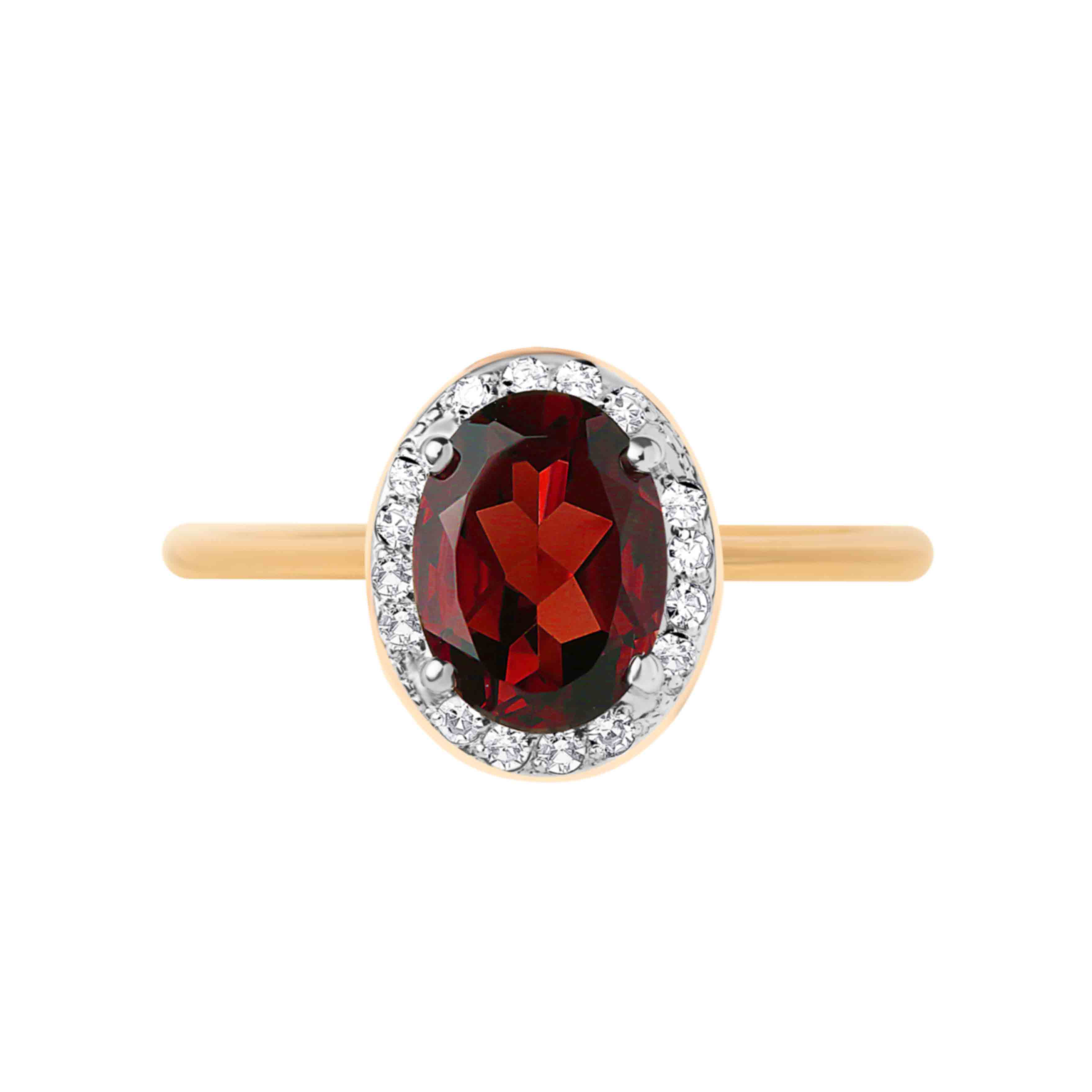 Garnet and Diamond 14kt Rose Gold Ring. View 2