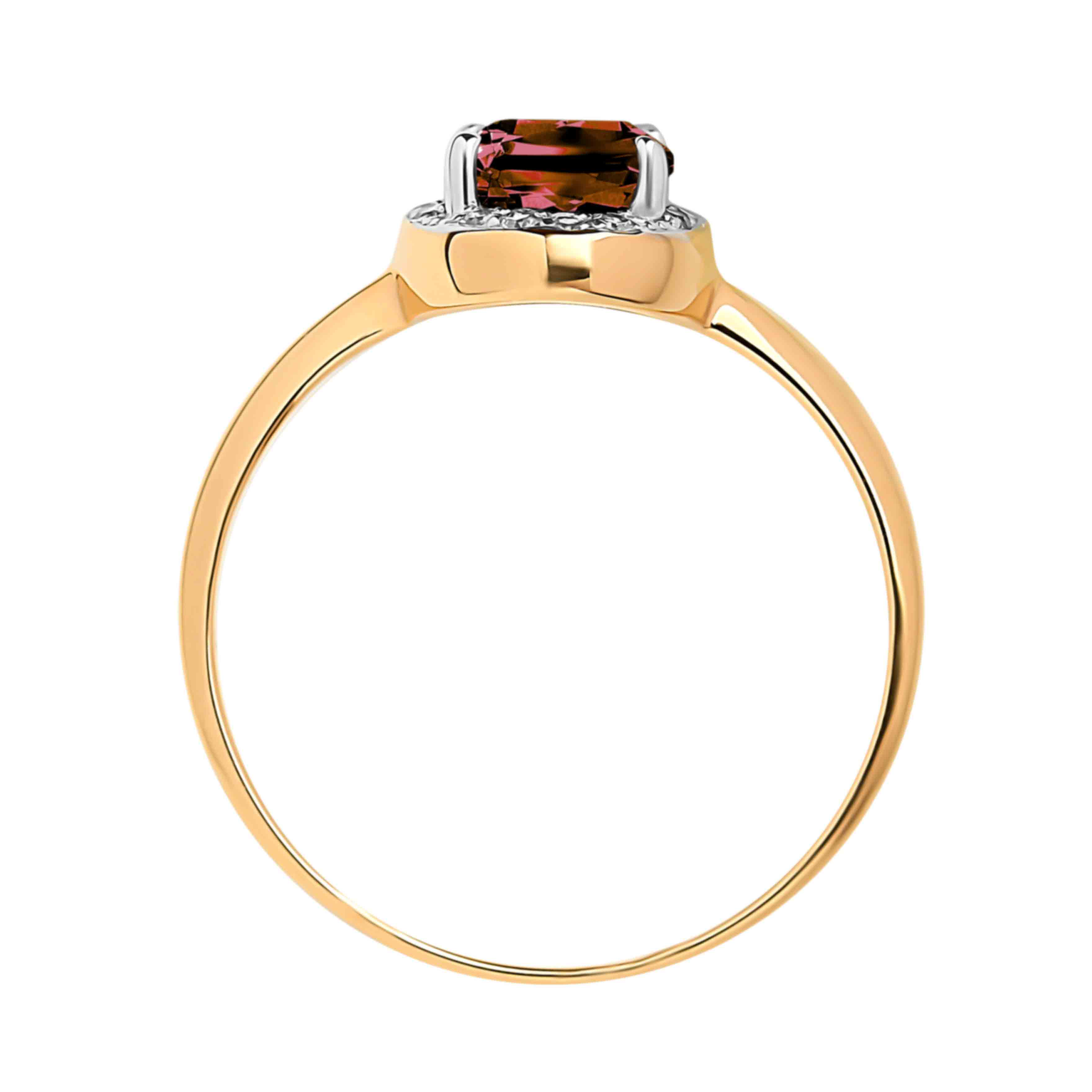 Garnet and Diamond 14kt Rose Gold Ring. View 3