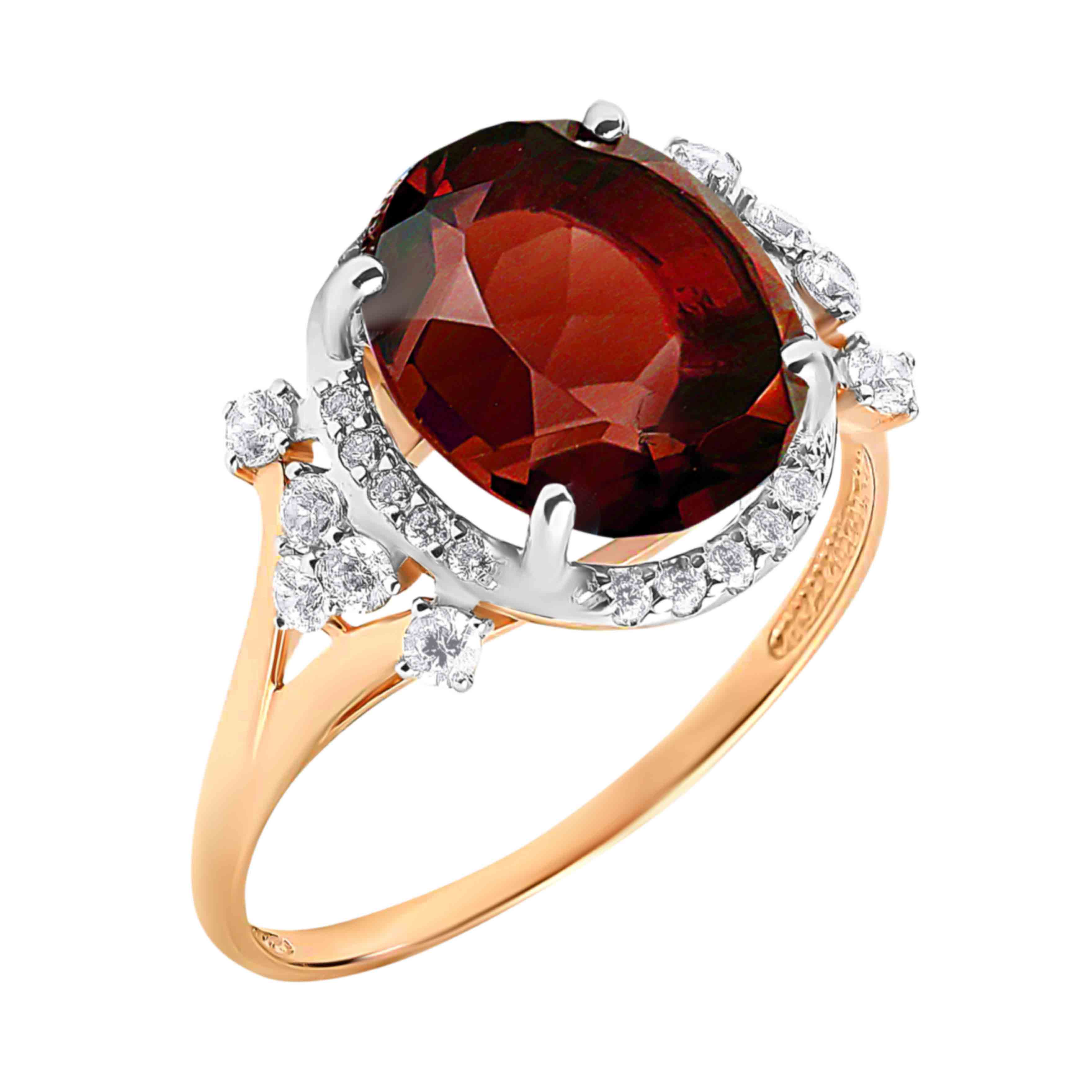 Oval-shaped Garnet and CZ Cocktail Ring