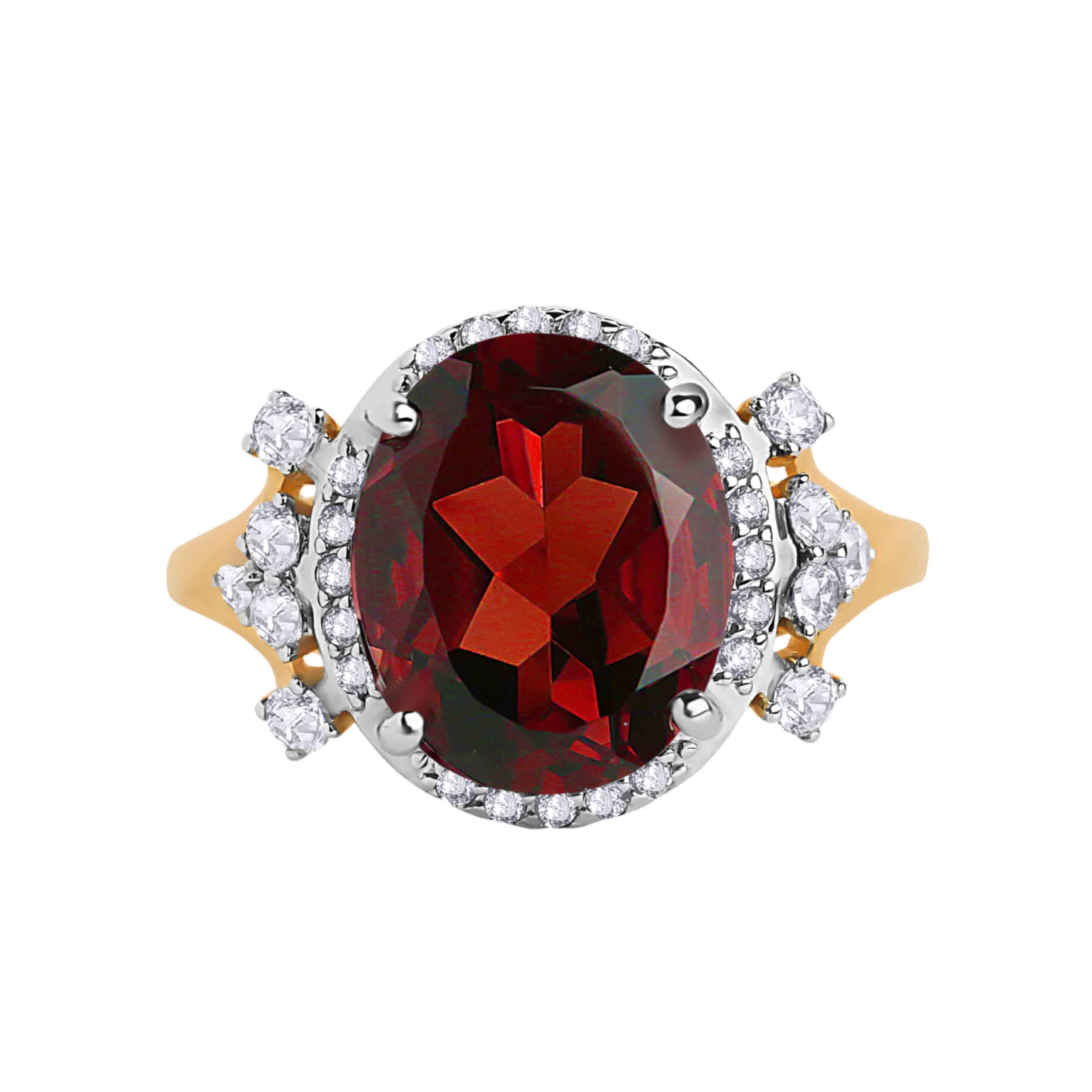 Oval-shaped Garnet and CZ Rose Gold Cocktail Ring. View 2