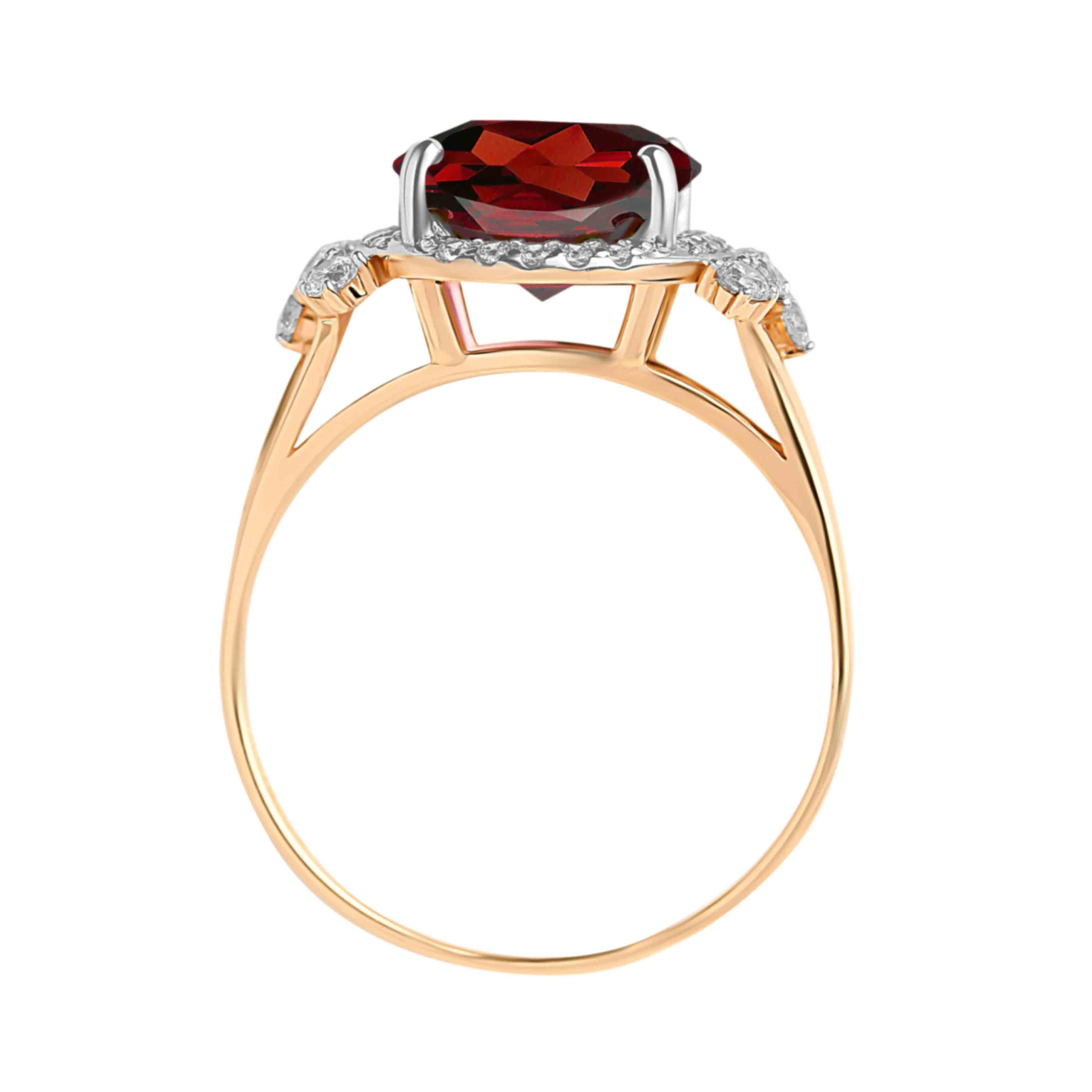 Oval-shaped Garnet and CZ Rose Gold Cocktail Ring. View 3
