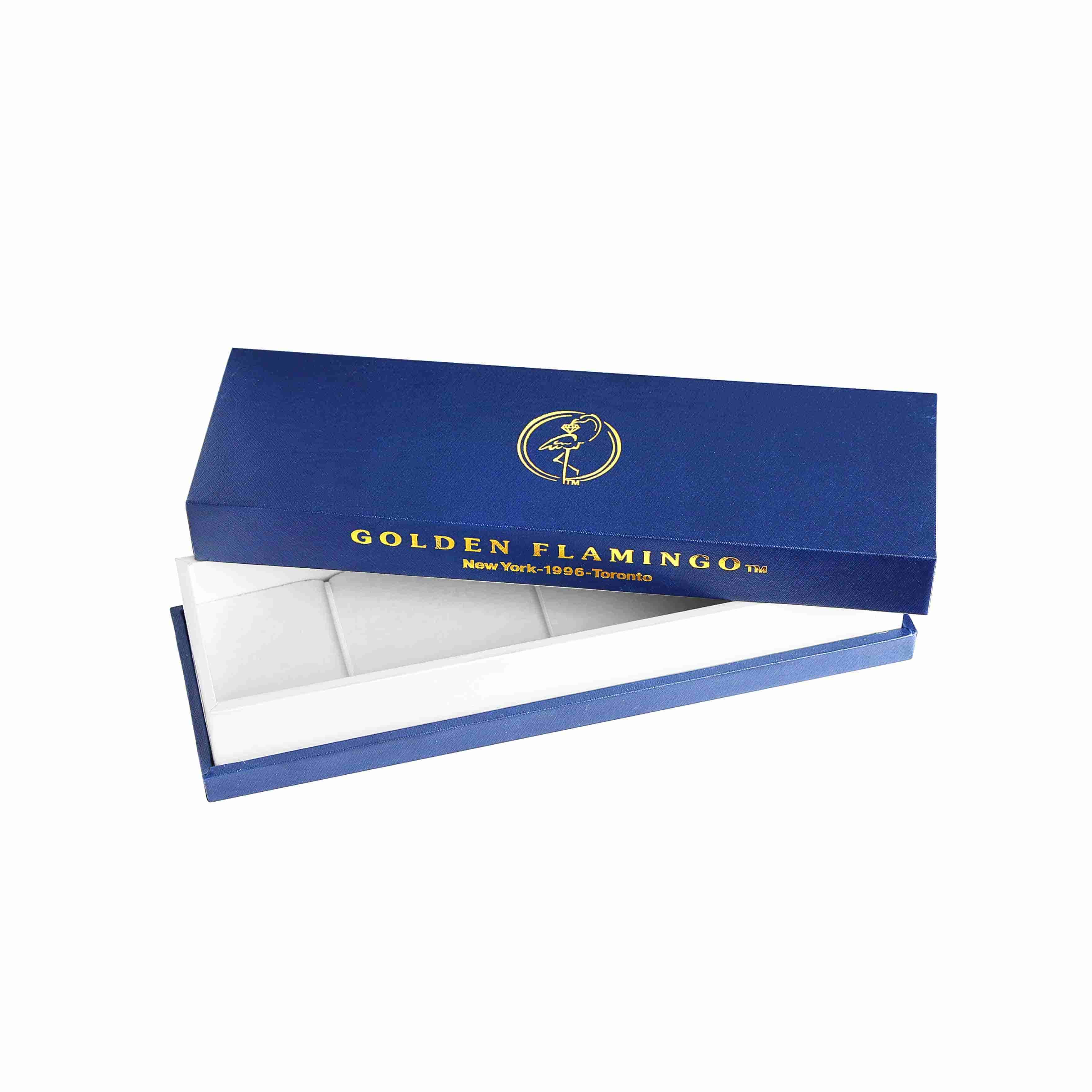 Boutique-quality gift box for gold bracelet.