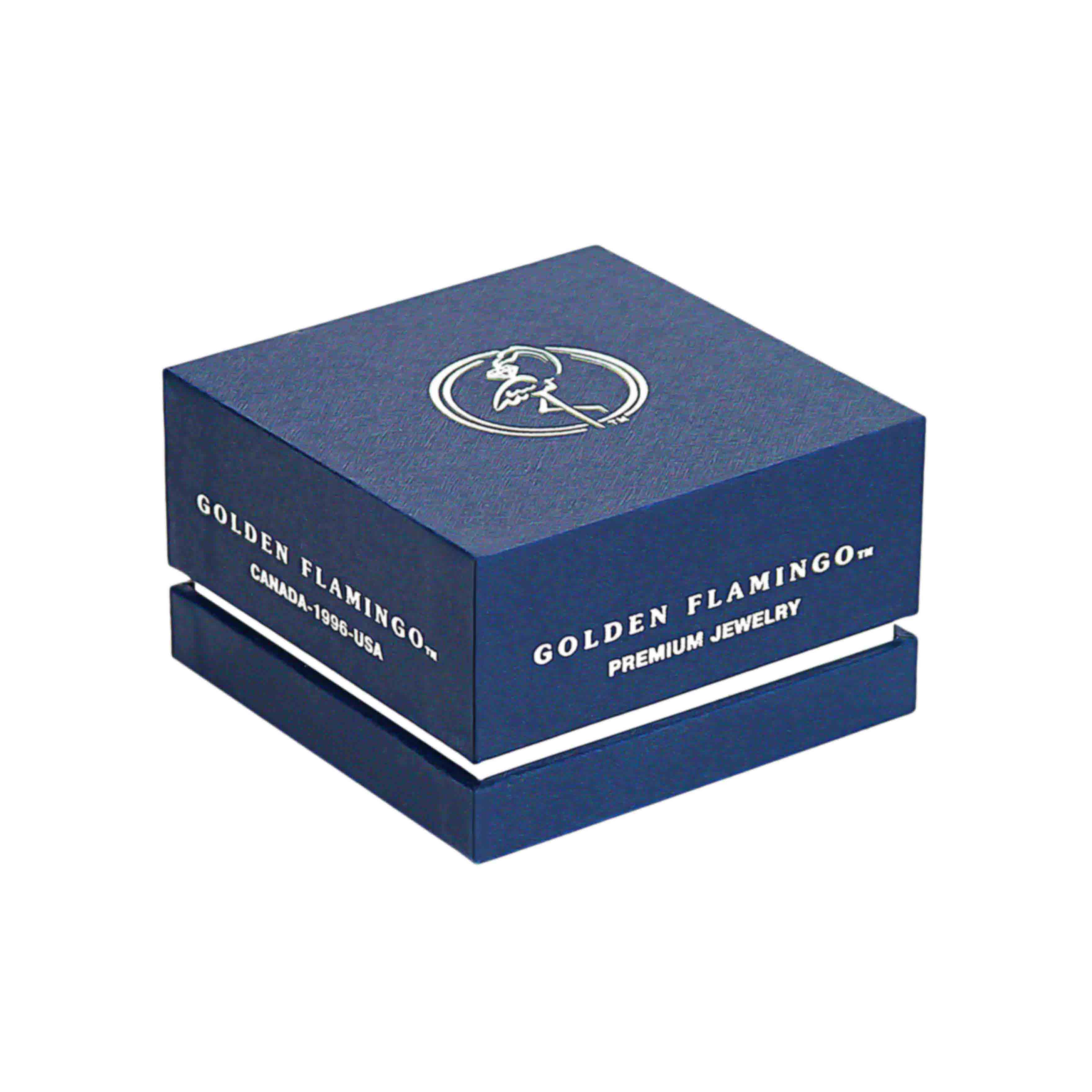 Boutique-quality gift box for gold ring by the Golden Flamingo brand