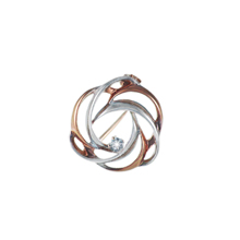 CZ Two-tone Swirl Brooch