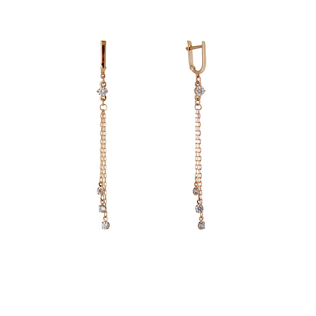 CZ-Fianit Multi Chain Earrings