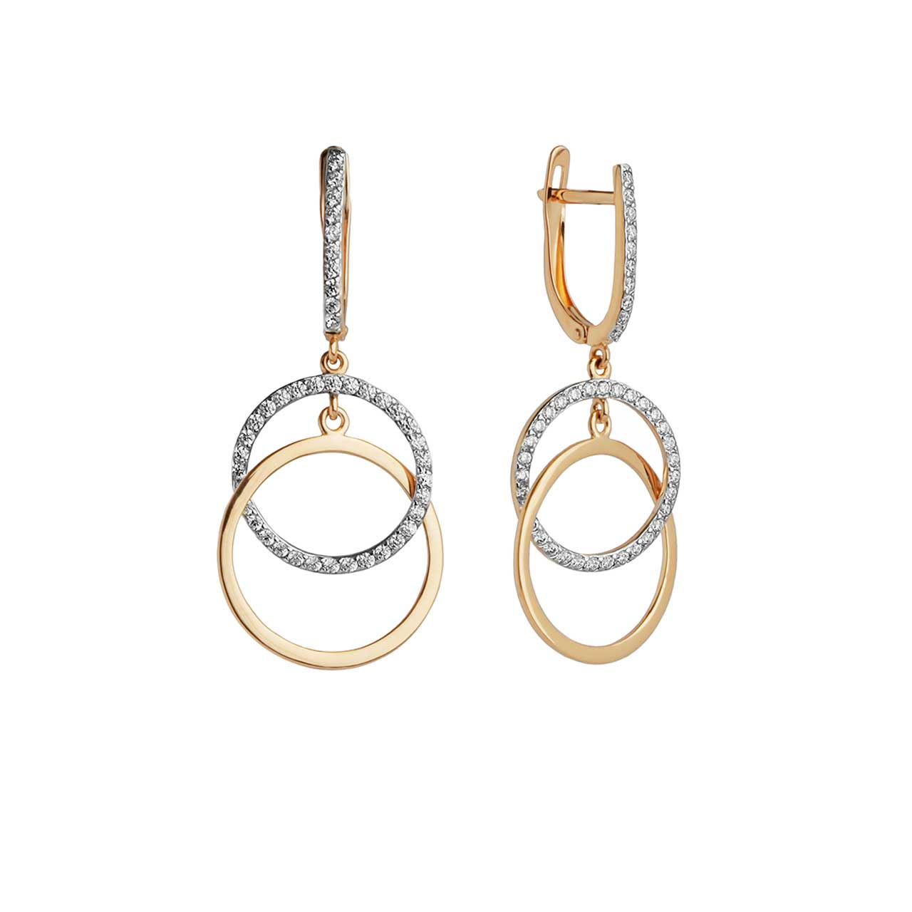CZ Double Circle Dangle Earrings
