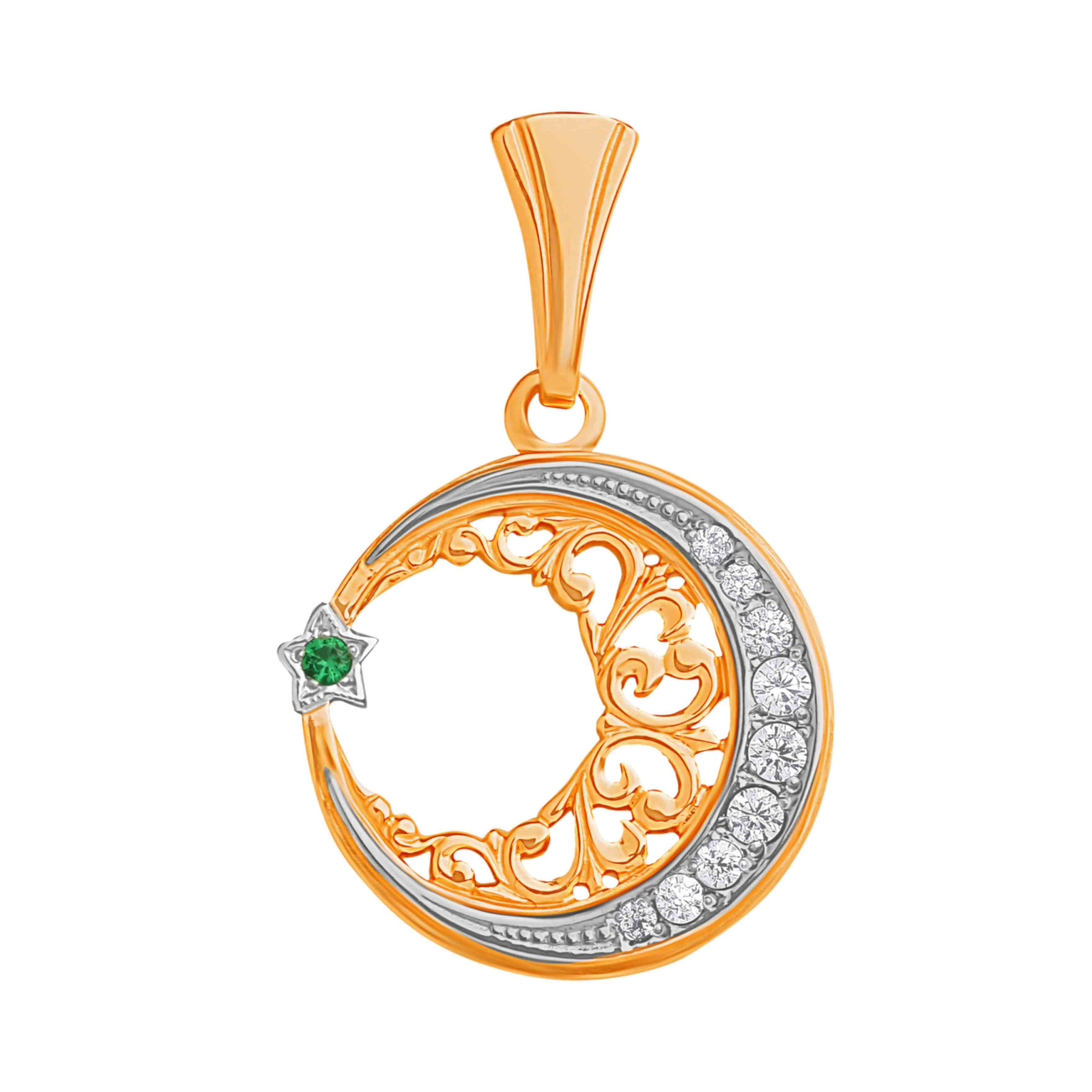 Star and Crescent Filigree Gold Pendant
