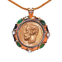 Emerald and Diamond Gold 10 Rubles Pendant