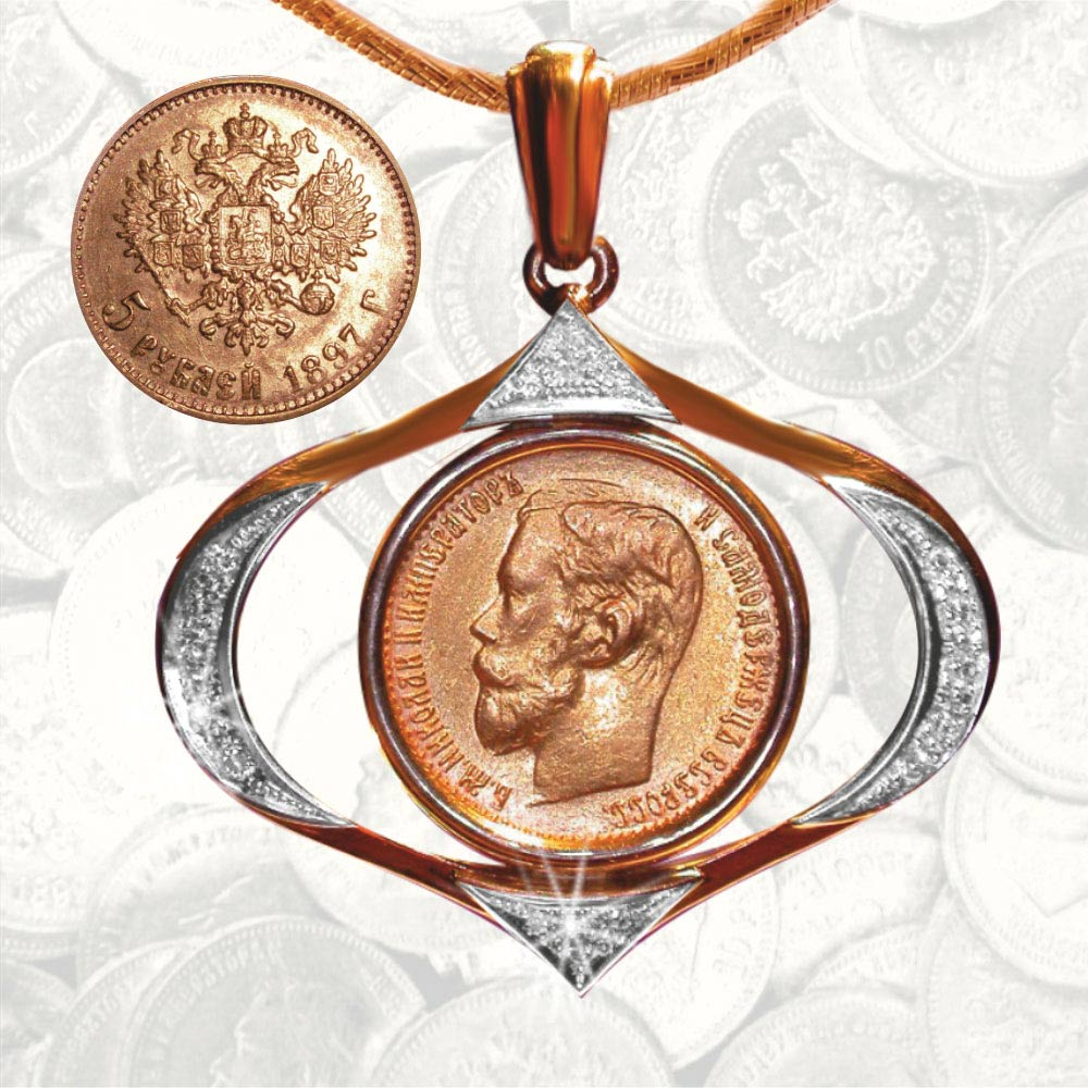 en jewelry golden russian coin flamingo z pendant collections gold rubles closeout