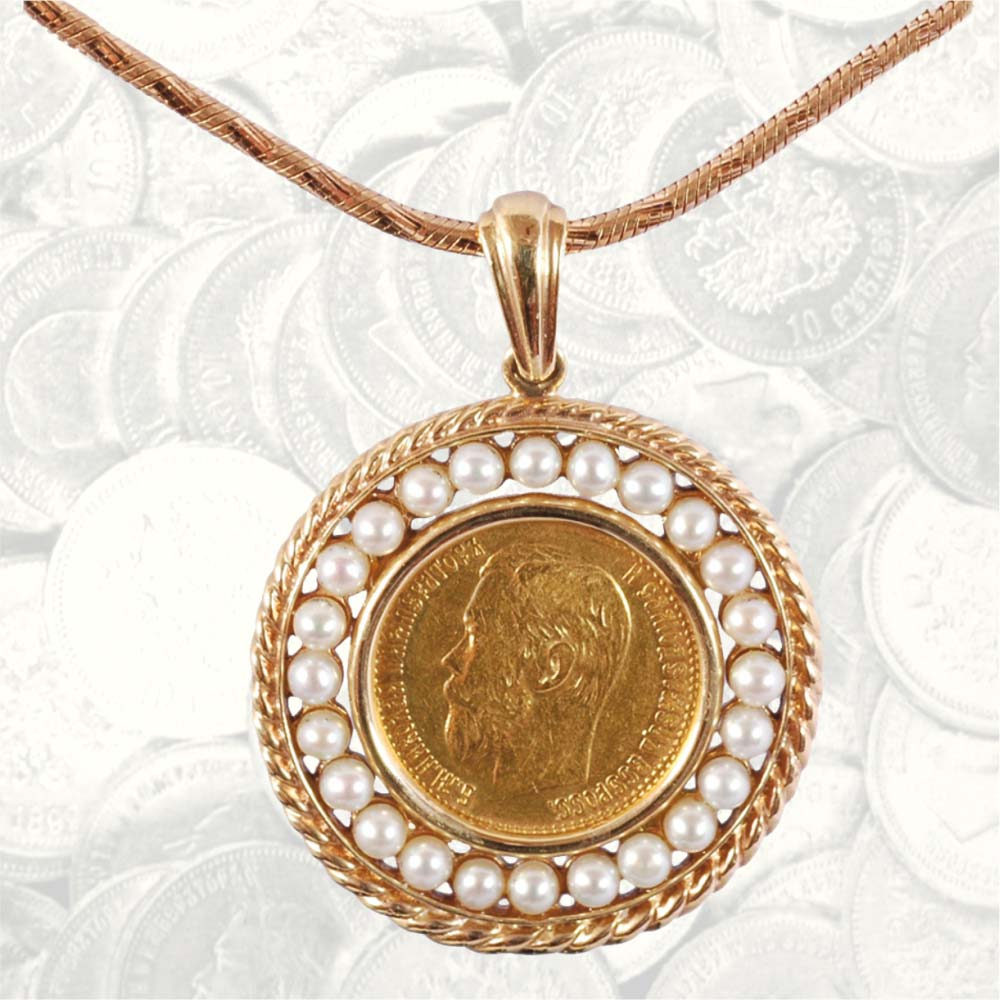 Pearl Gold Coin Necklace