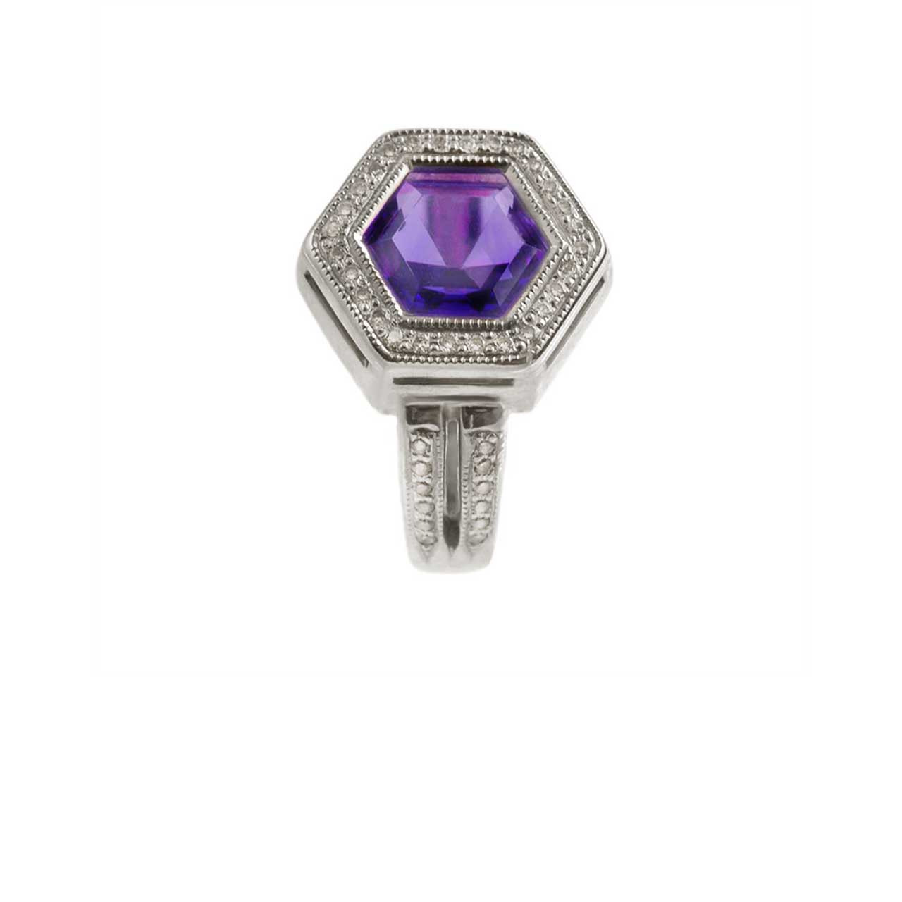 Amethyst gold hexagonal ring 2